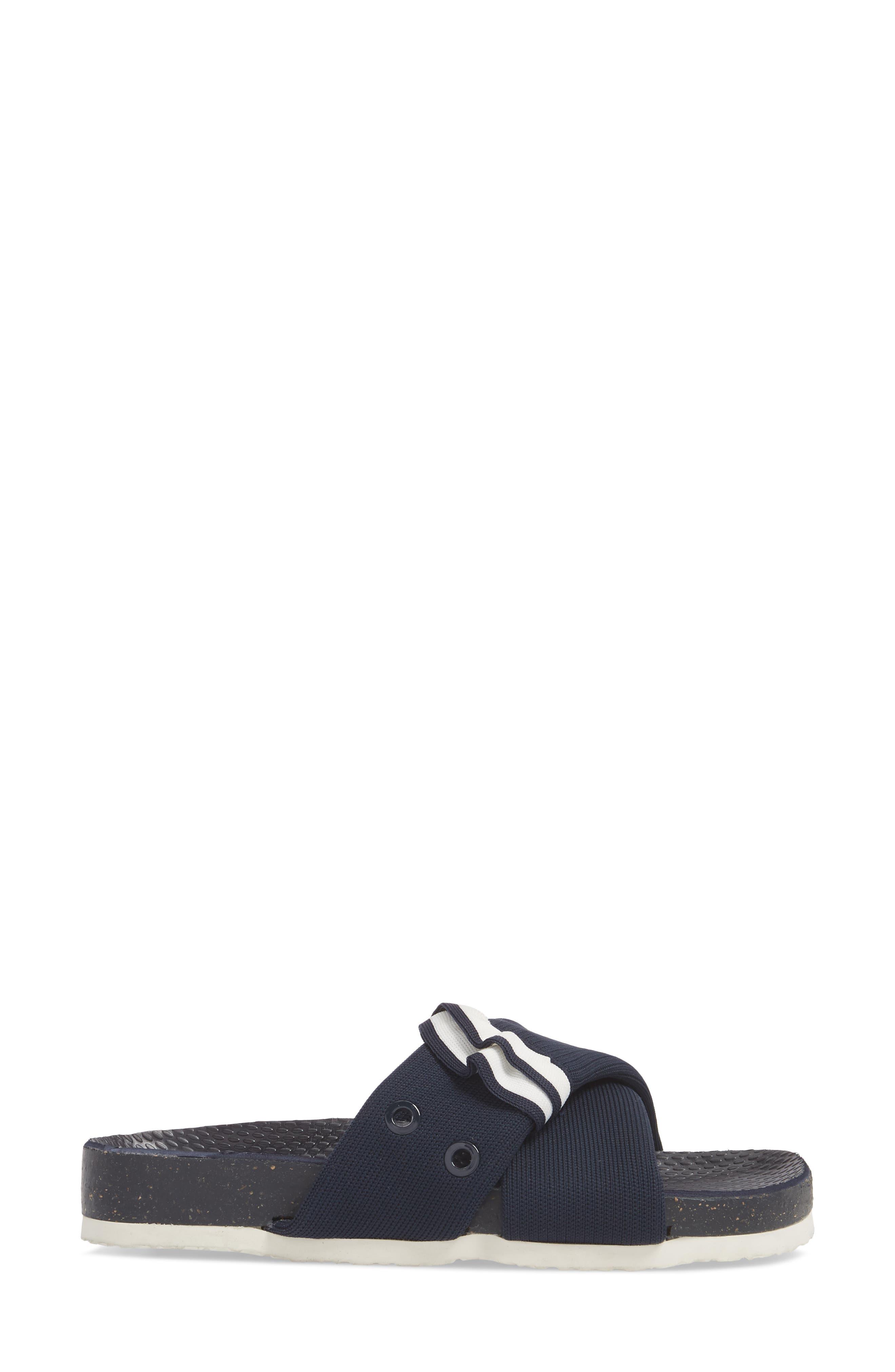Sidecar Ruffle Slide,                             Alternate thumbnail 3, color,                             Bright Navy/ Show White