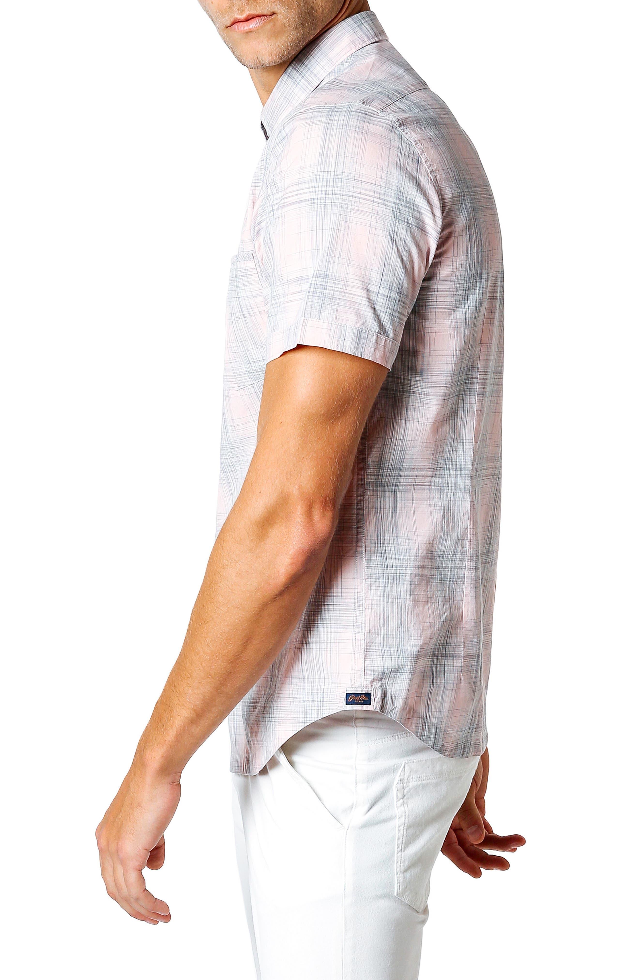 Trim Fit Short Sleeve Sport Shirt,                             Alternate thumbnail 3, color,                             Pink