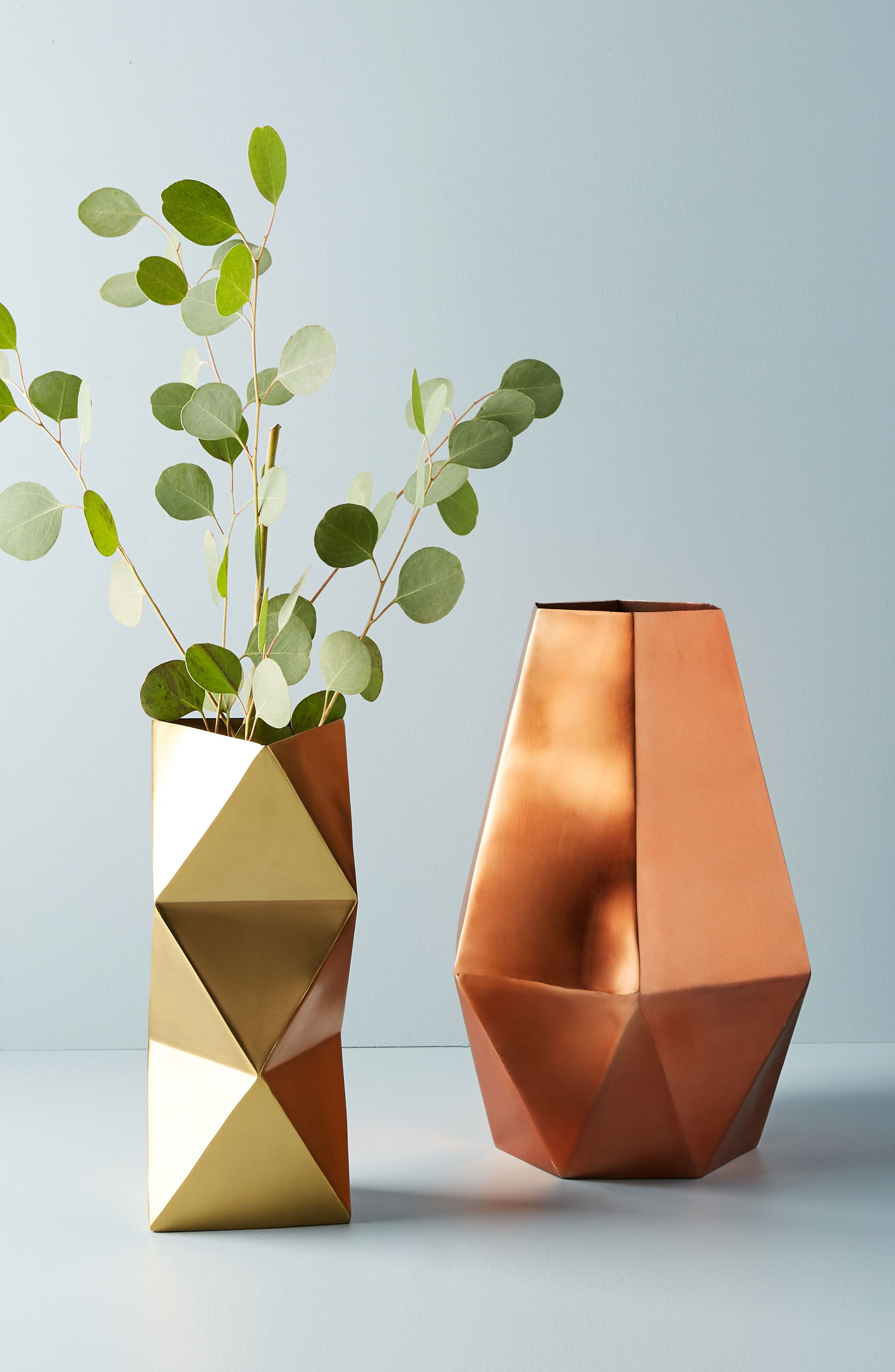 Faceted Triangle Metal Vase,                             Alternate thumbnail 3, color,                             Gold