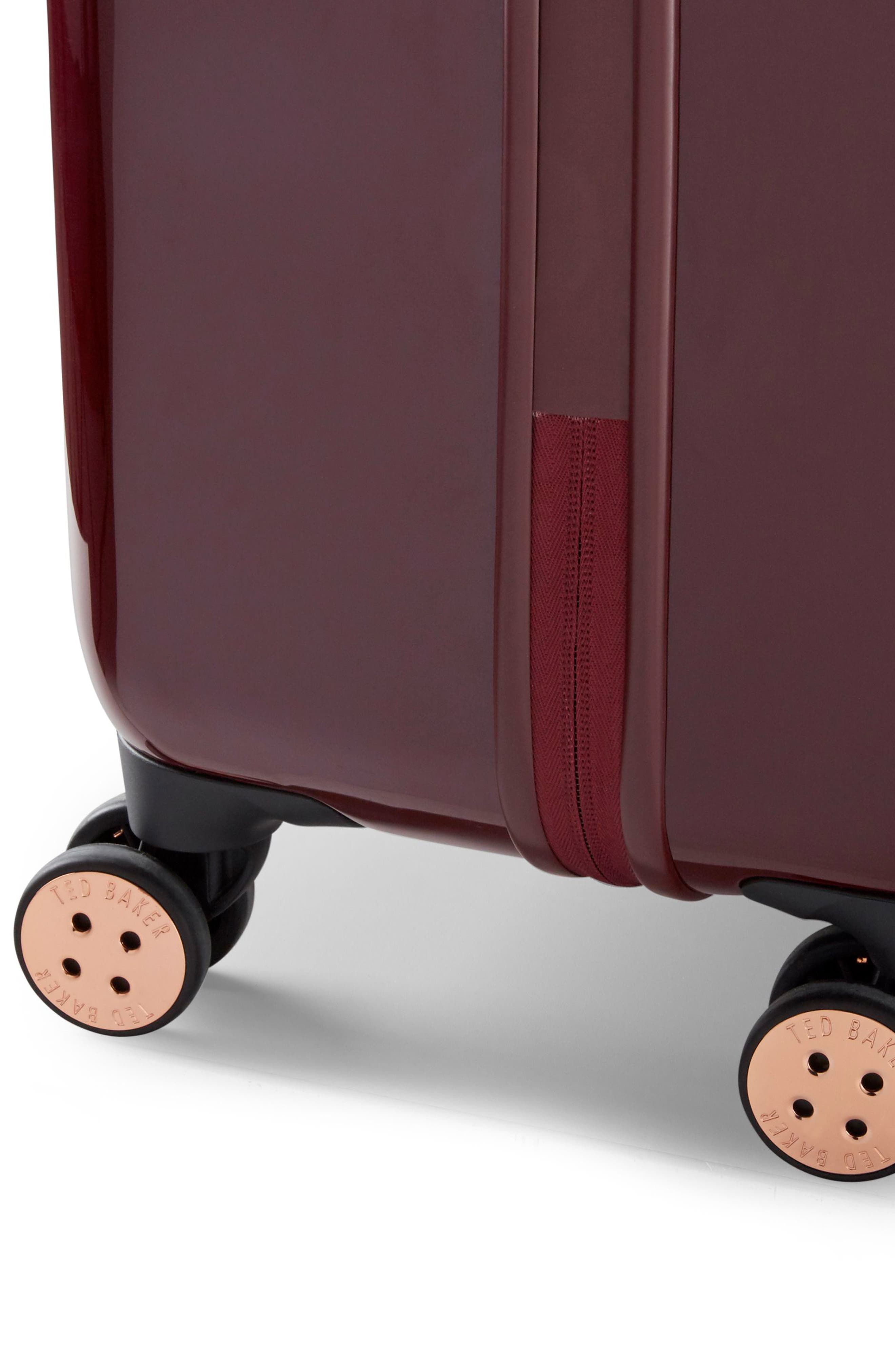 Large Porcelain Rose 31-Inch Hard Shell Spinner Suitcase,                             Alternate thumbnail 8, color,                             Burgundy