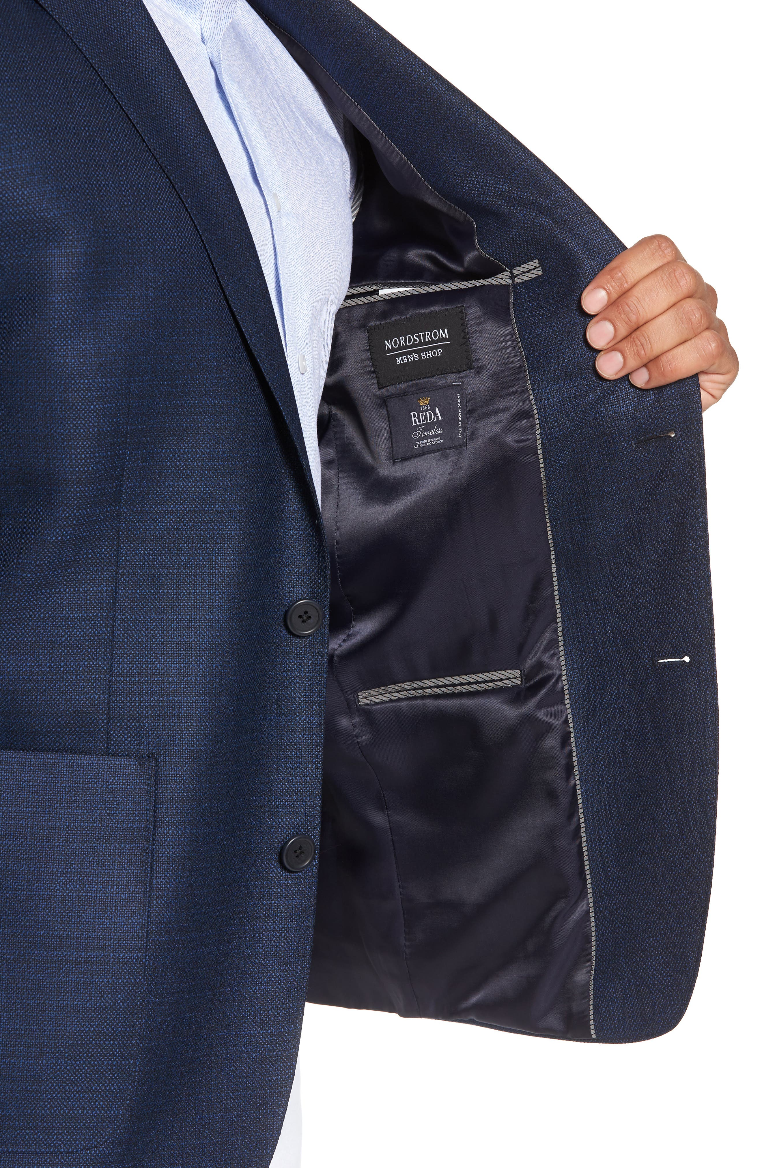 Trim Fit Wool Blazer,                             Alternate thumbnail 4, color,                             Navy
