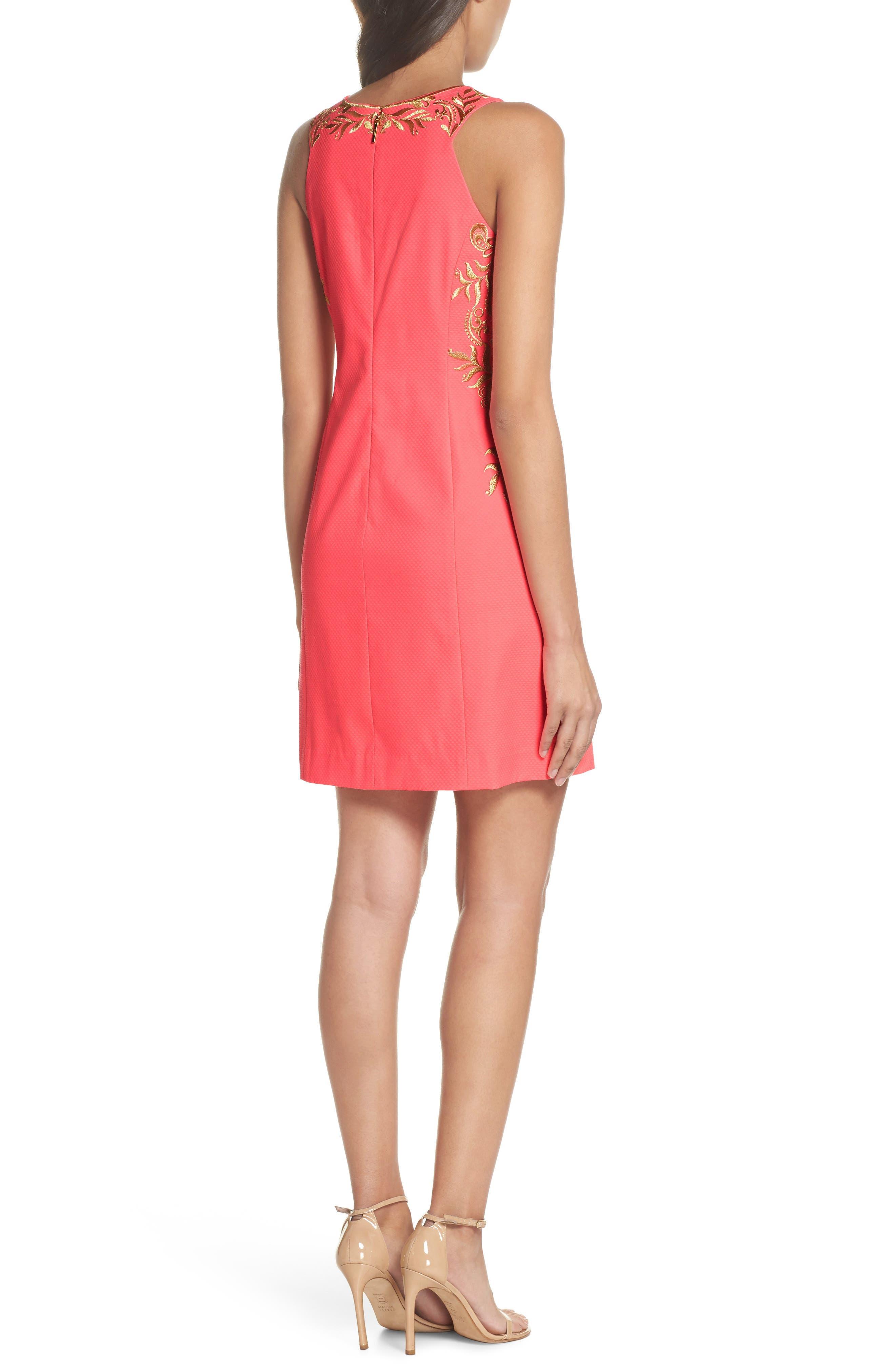 Tina Embroidered Sheath Dress,                             Alternate thumbnail 2, color,                             Coral Suns
