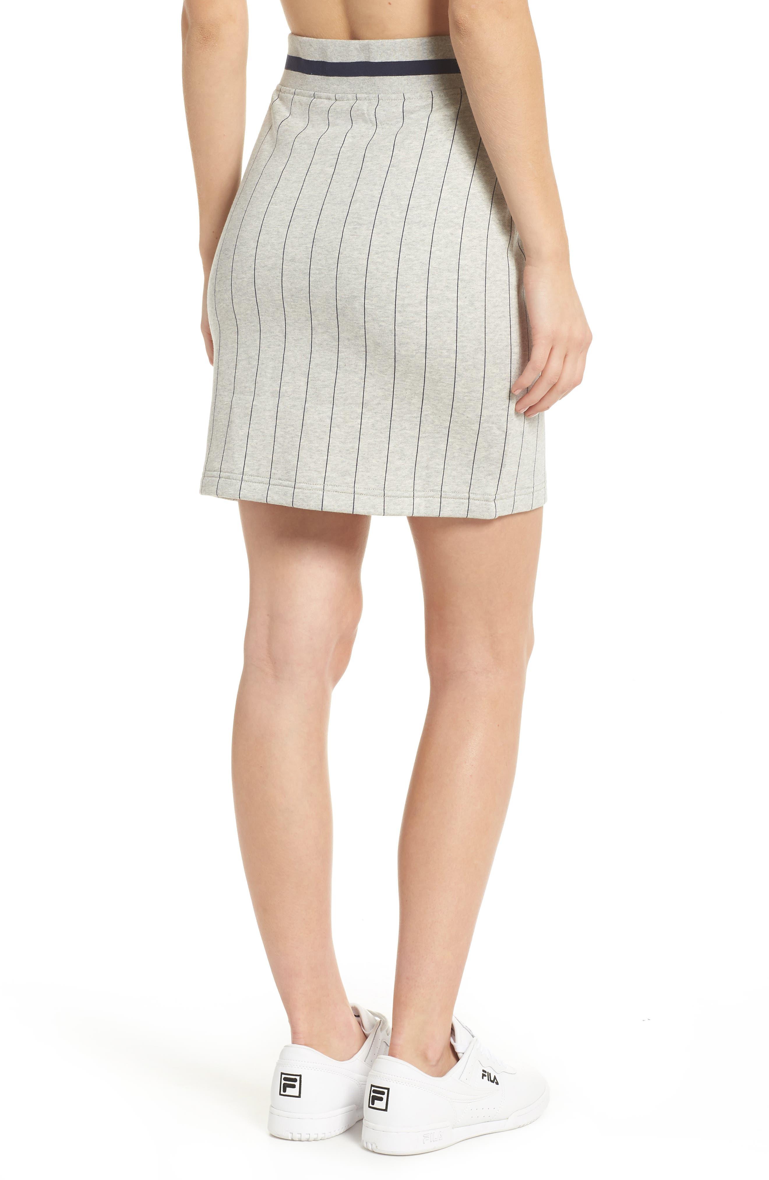 Francesca Pinstripe Skirt,                             Alternate thumbnail 3, color,                             Light Grey Marl/ Peacoat