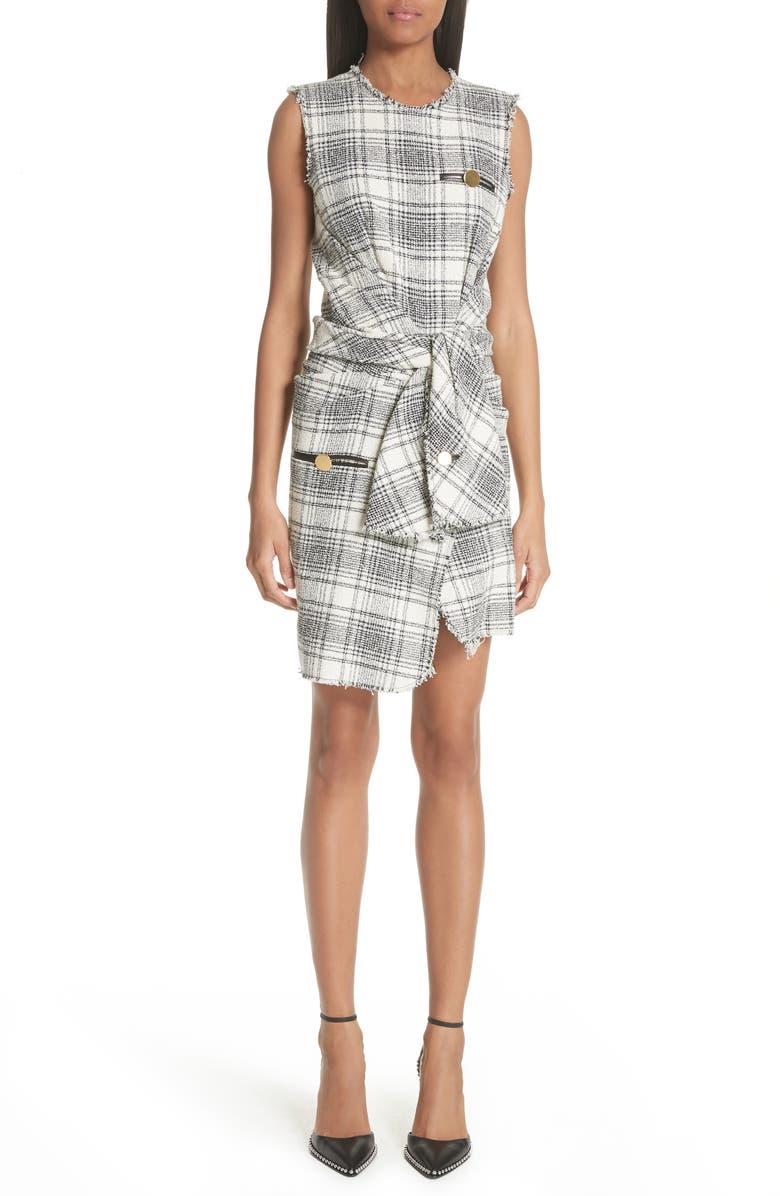 Tie Waist Tweed Dress