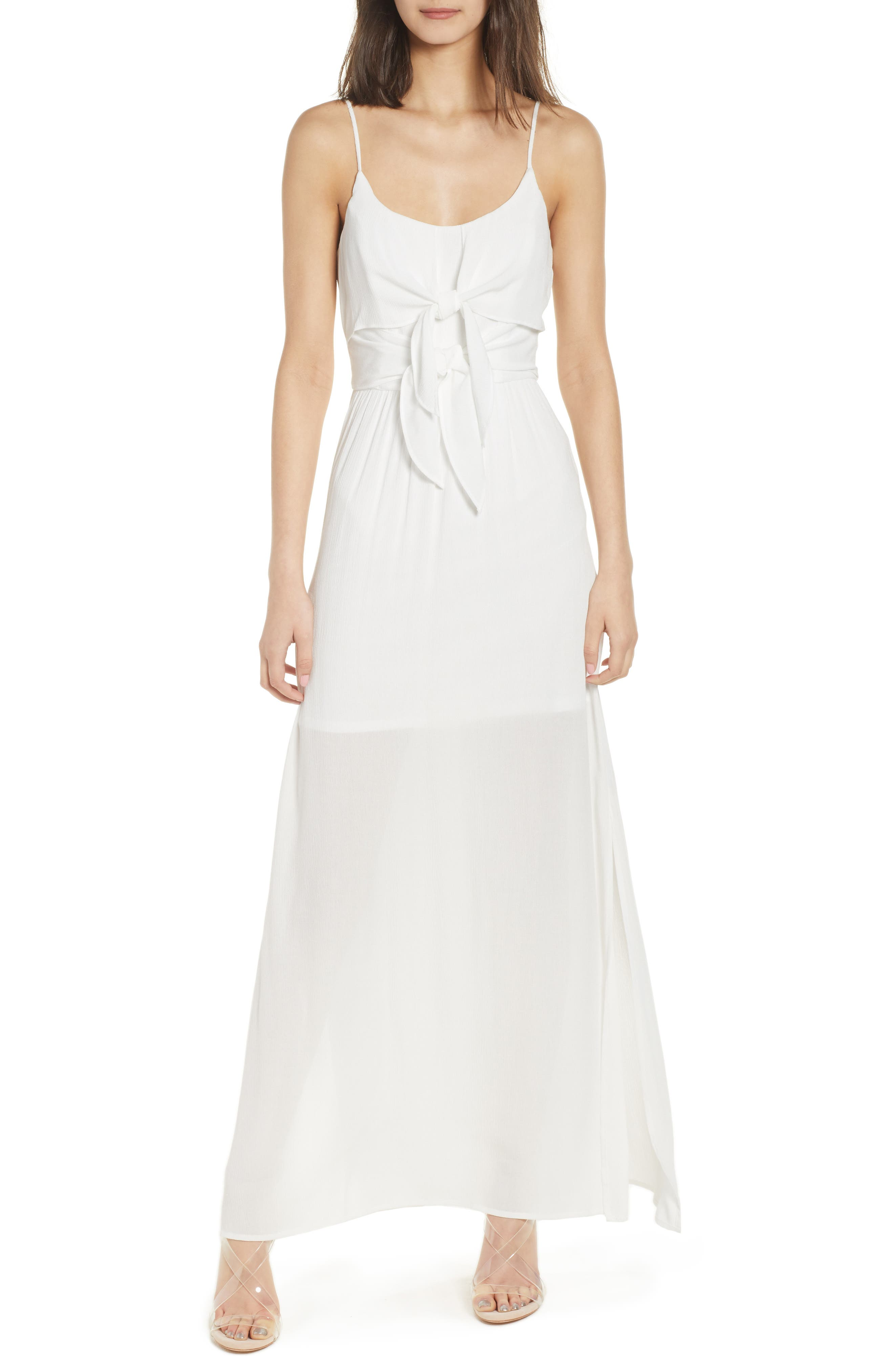 Tie Front Maxi Dress,                             Main thumbnail 1, color,                             Ivory