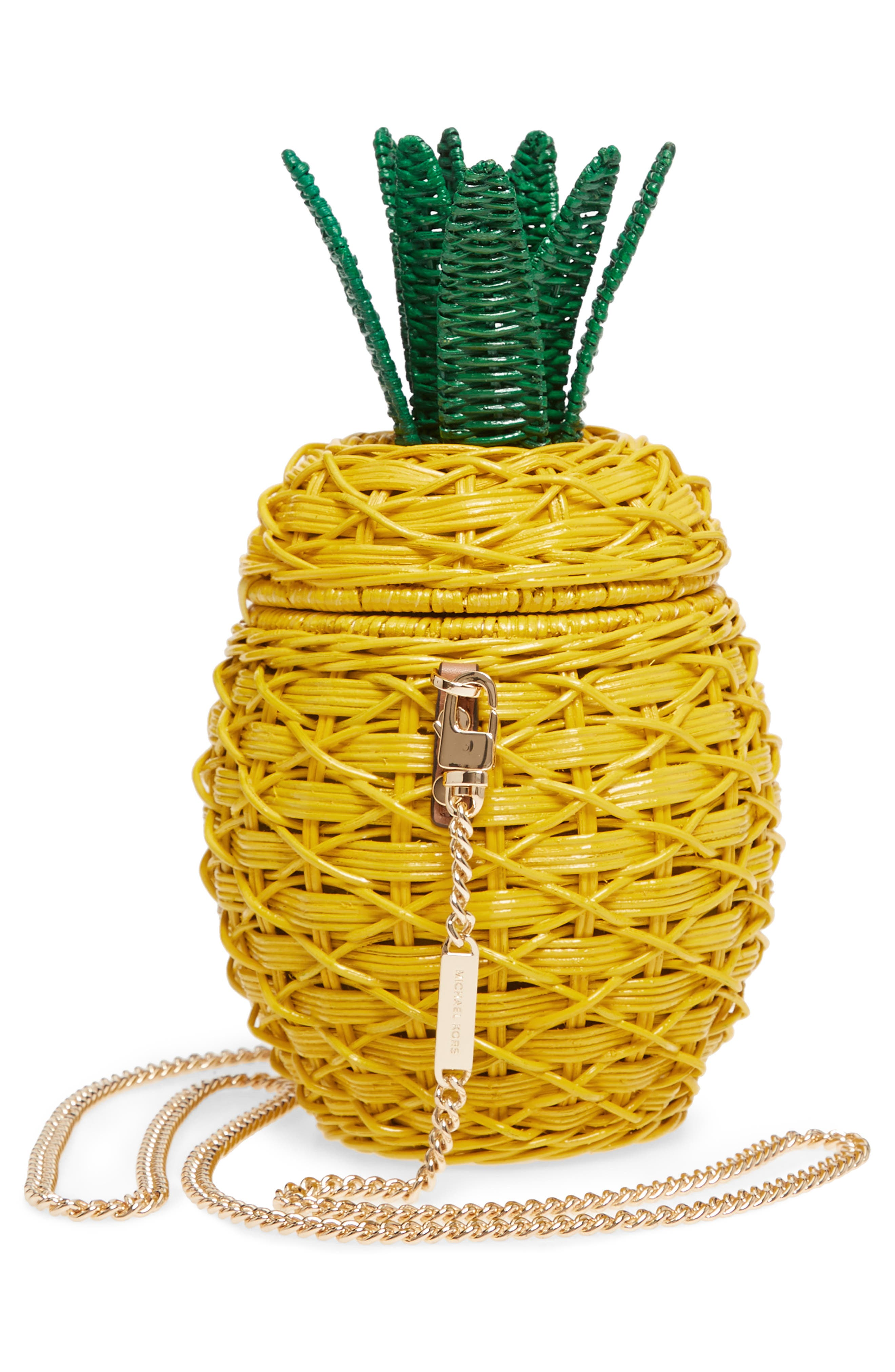 MICHAEL Michael Kors Wicker Pineapple Shoulder Bag,                             Alternate thumbnail 5, color,                             Sunflower