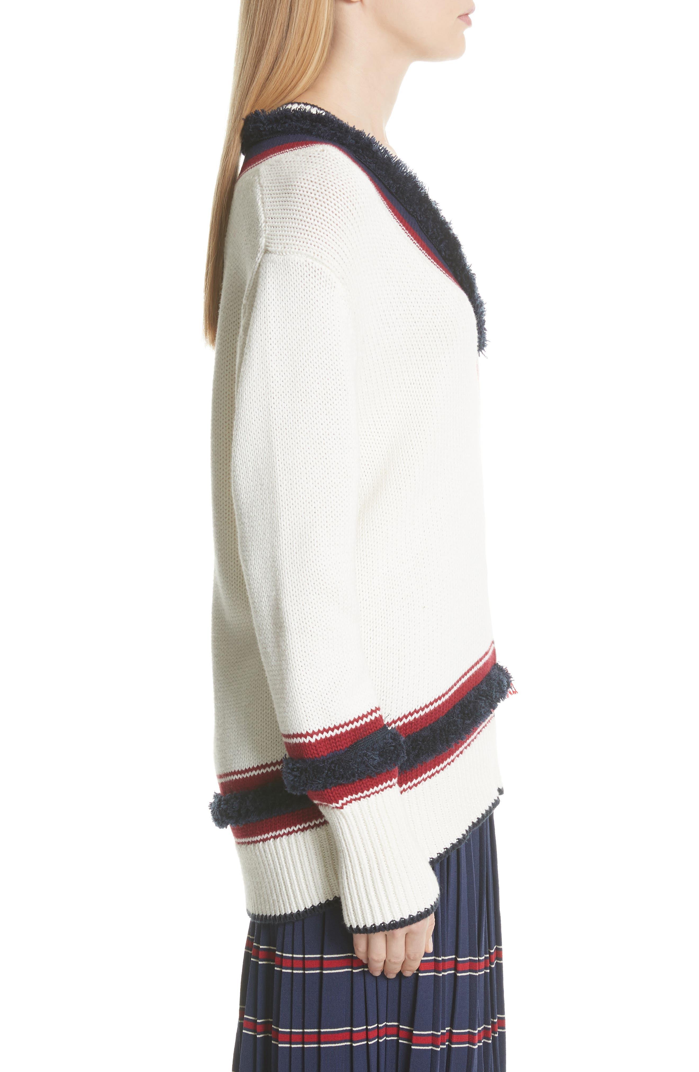 V-Neck Cotton & Cashmere Sweater,                             Alternate thumbnail 3, color,                             Ecru