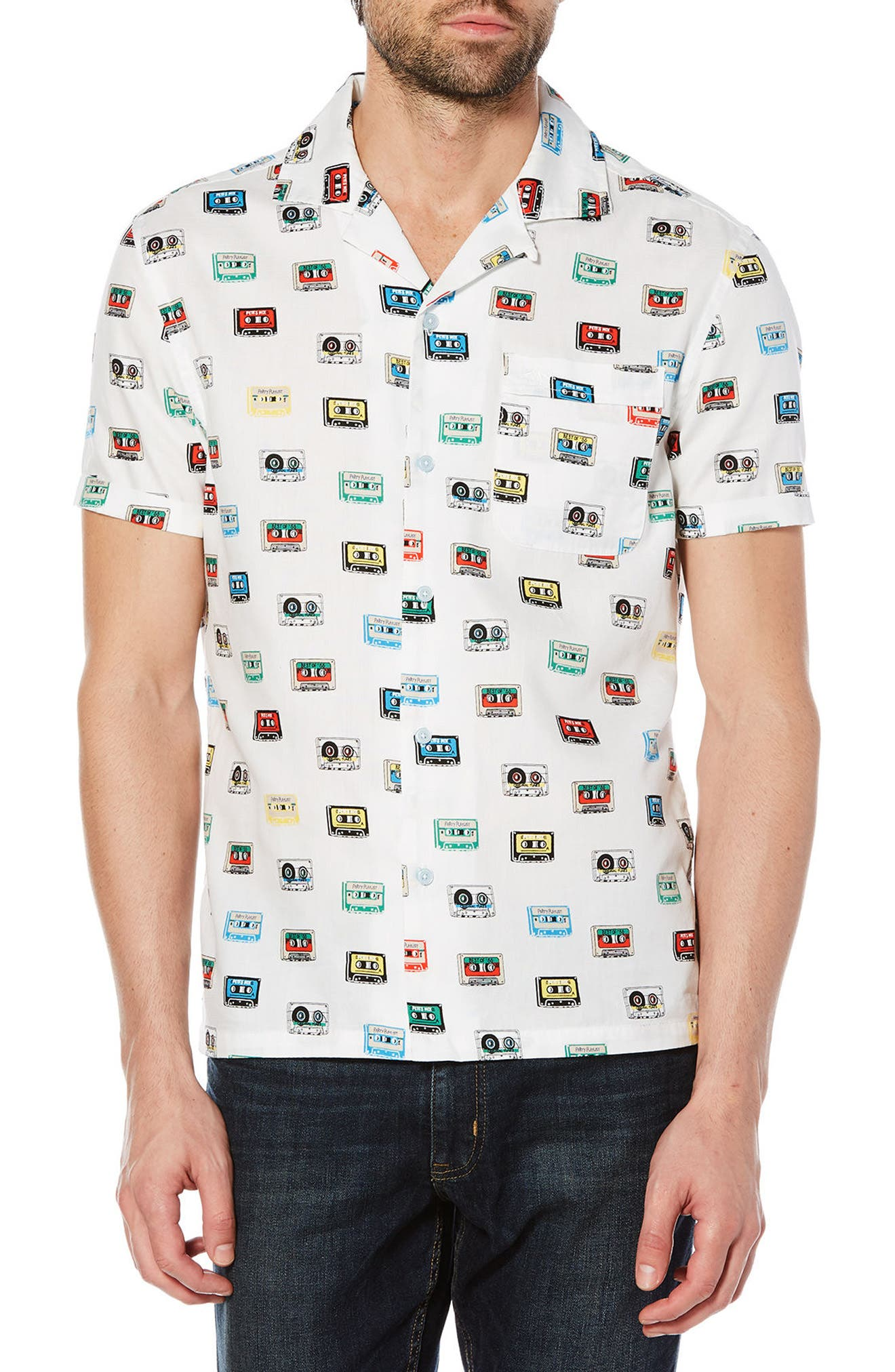 Cassette Print Woven Shirt,                             Main thumbnail 1, color,                             Bright White