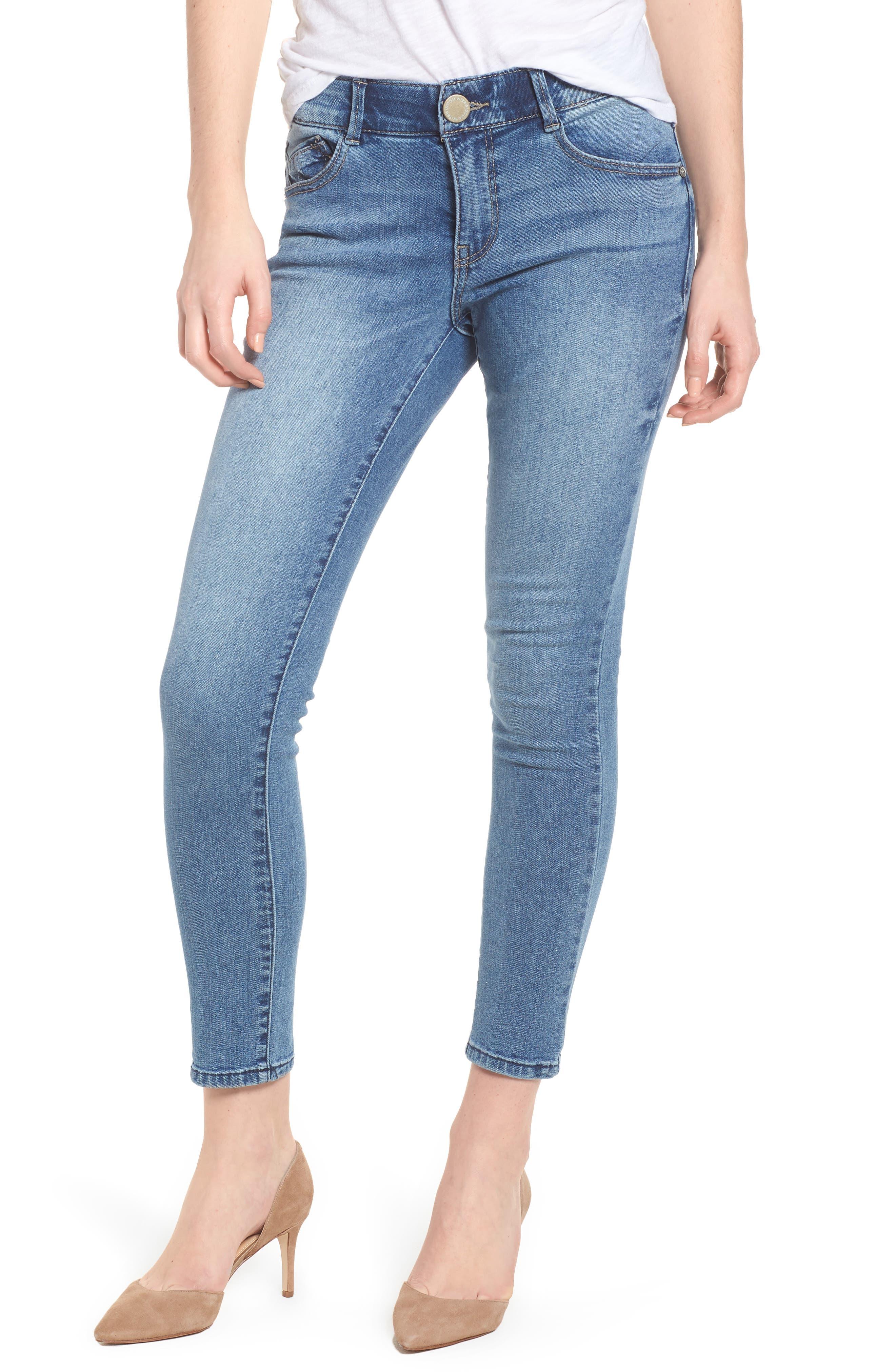 Ab-solution Ankle Skimmer Skinny Jeans Regular & Petite,                             Main thumbnail 1, color,                             Light Blue