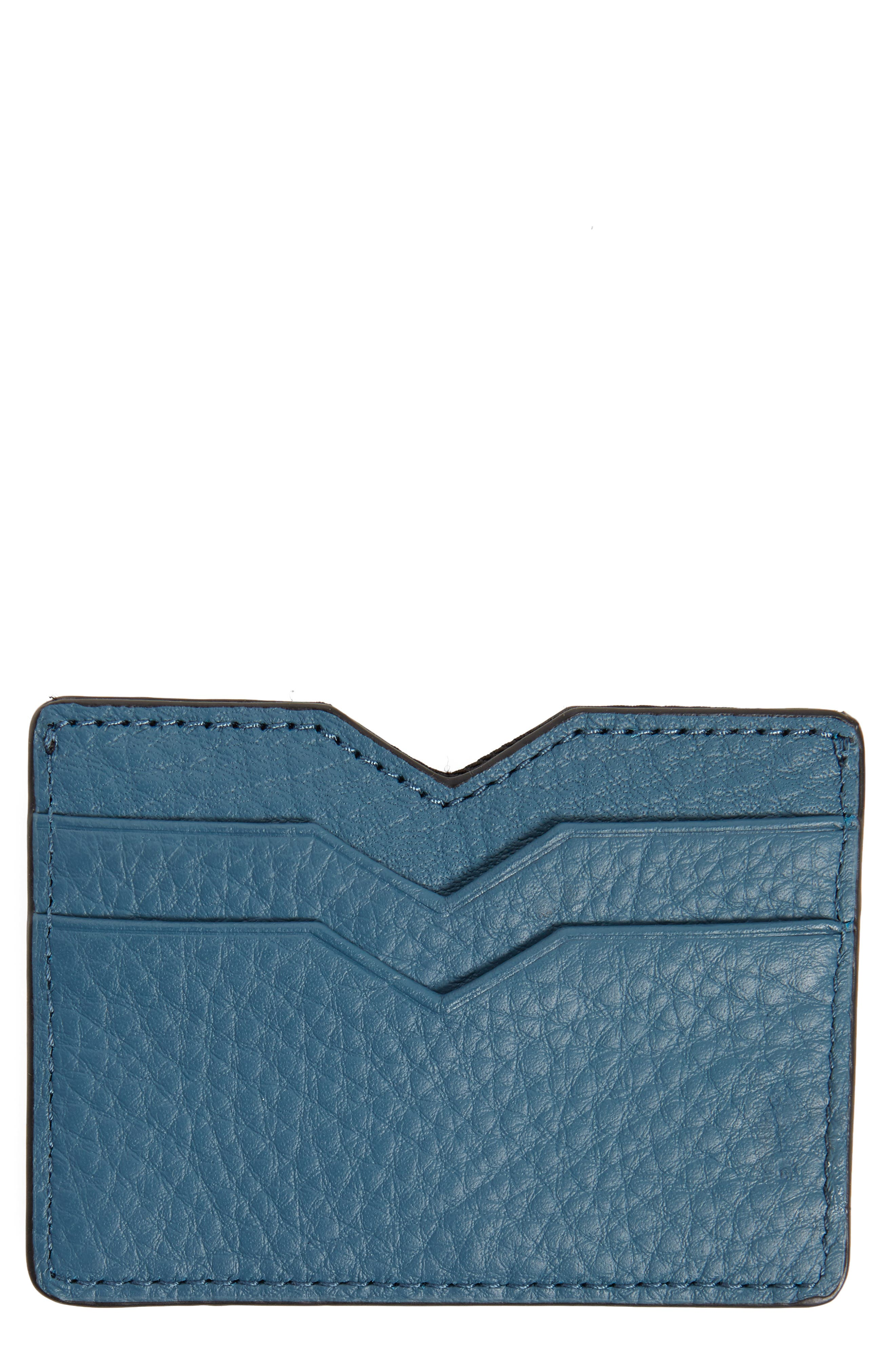 Wes Leather Card Case,                             Main thumbnail 1, color,                             Ocean