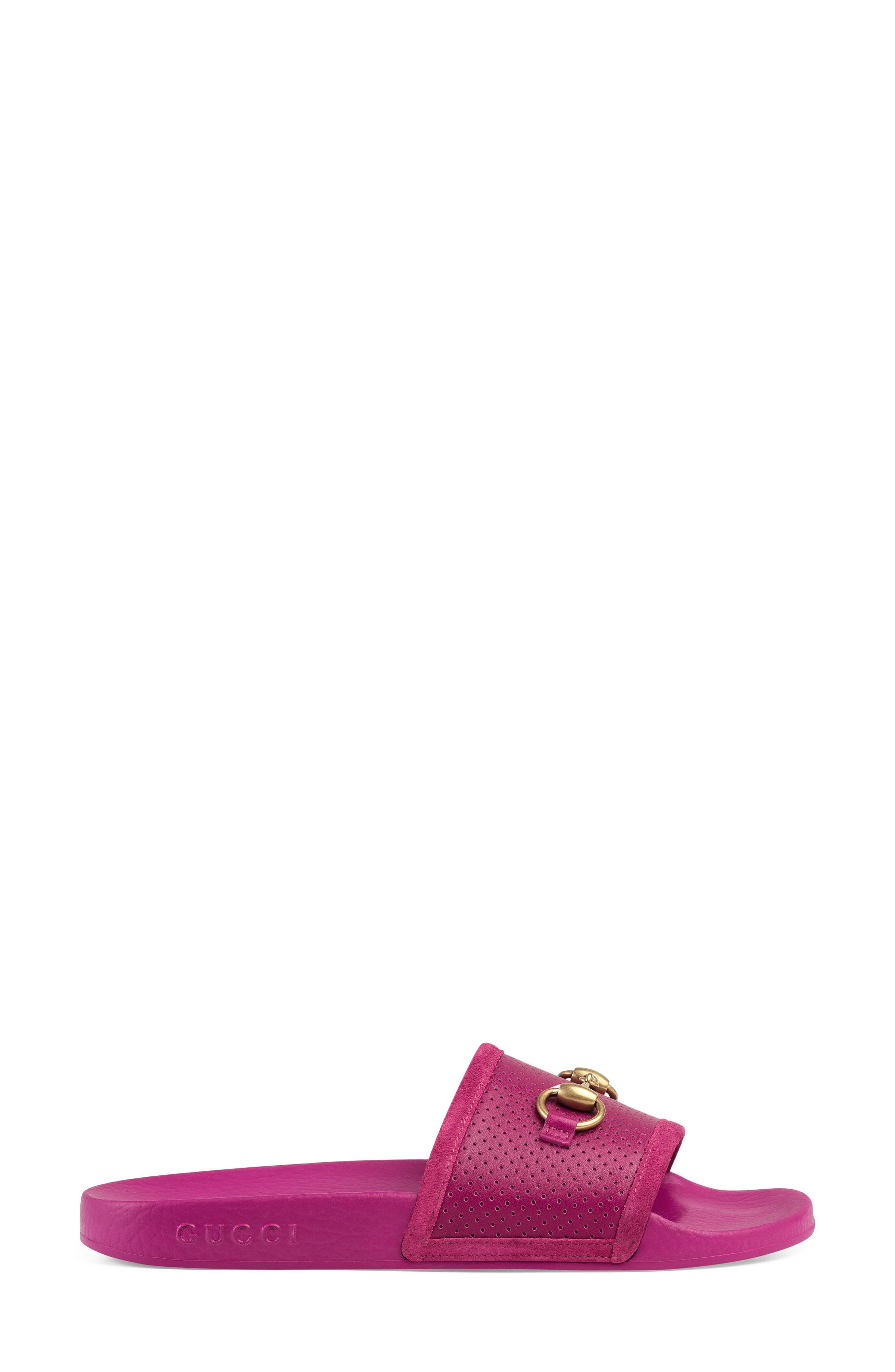 Horsebit Slide Sandal,                             Alternate thumbnail 2, color,                             Dark Pink