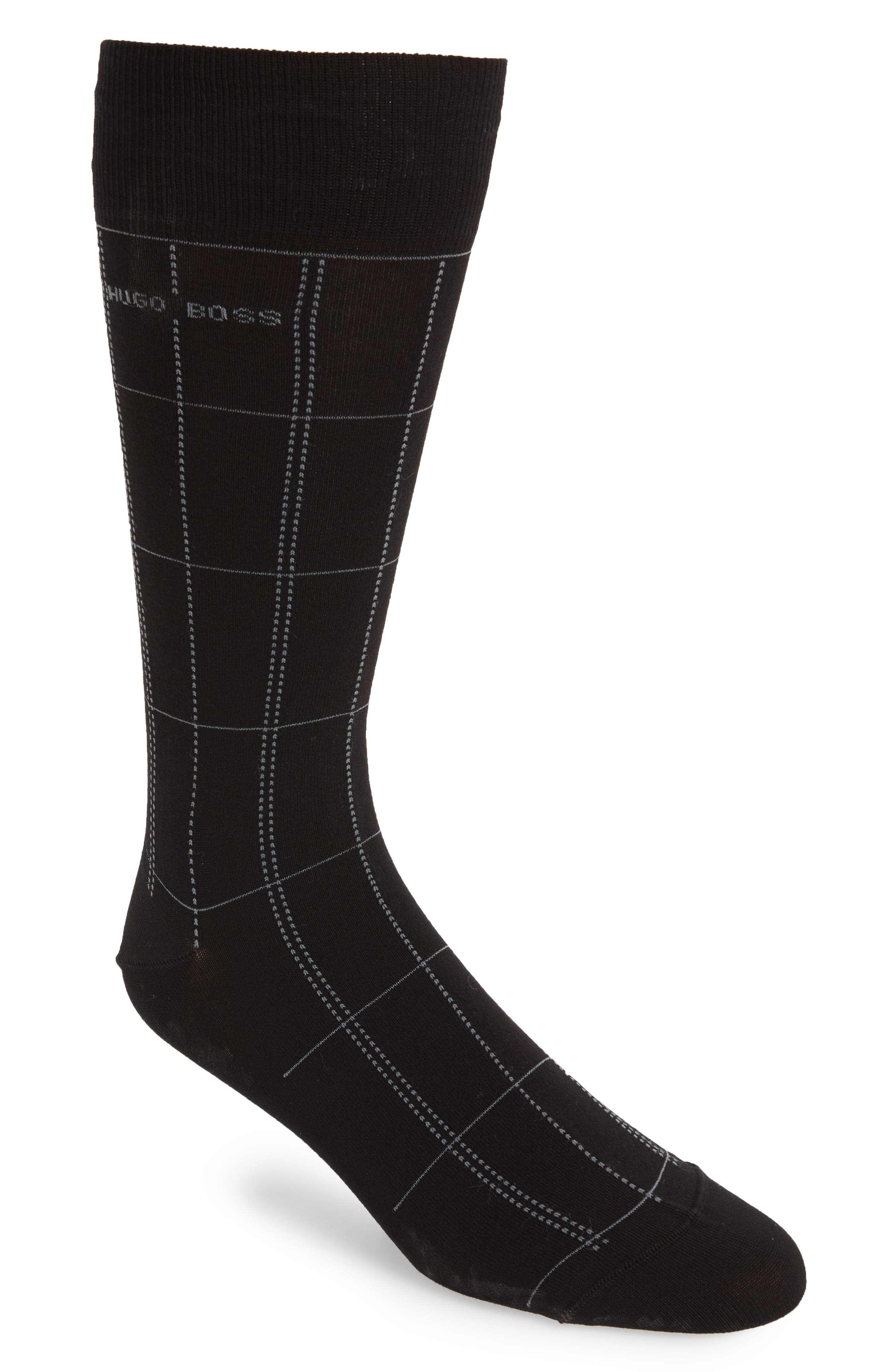 Check Socks,                             Main thumbnail 1, color,                             Black