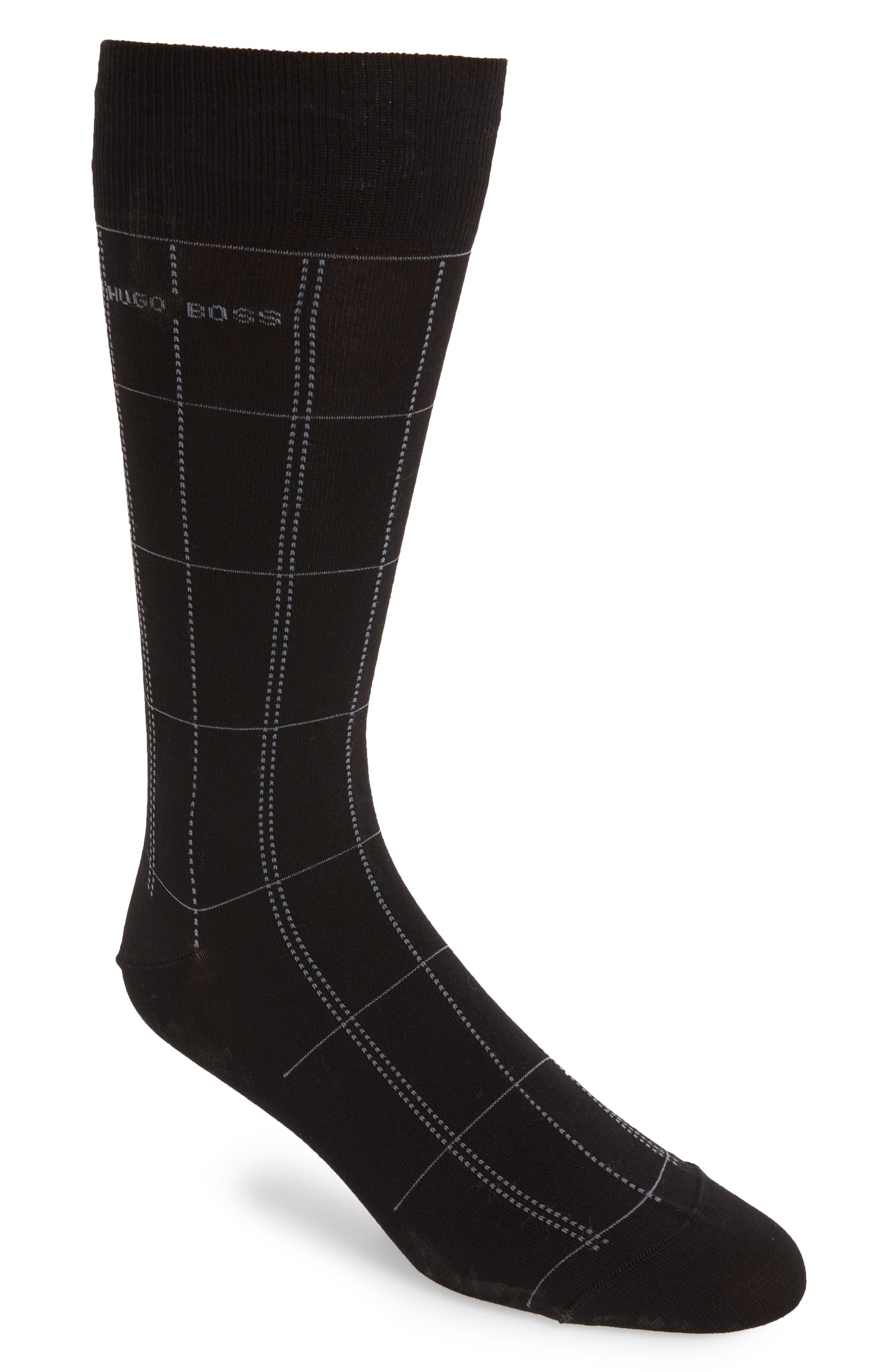 Check Socks,                         Main,                         color, Black