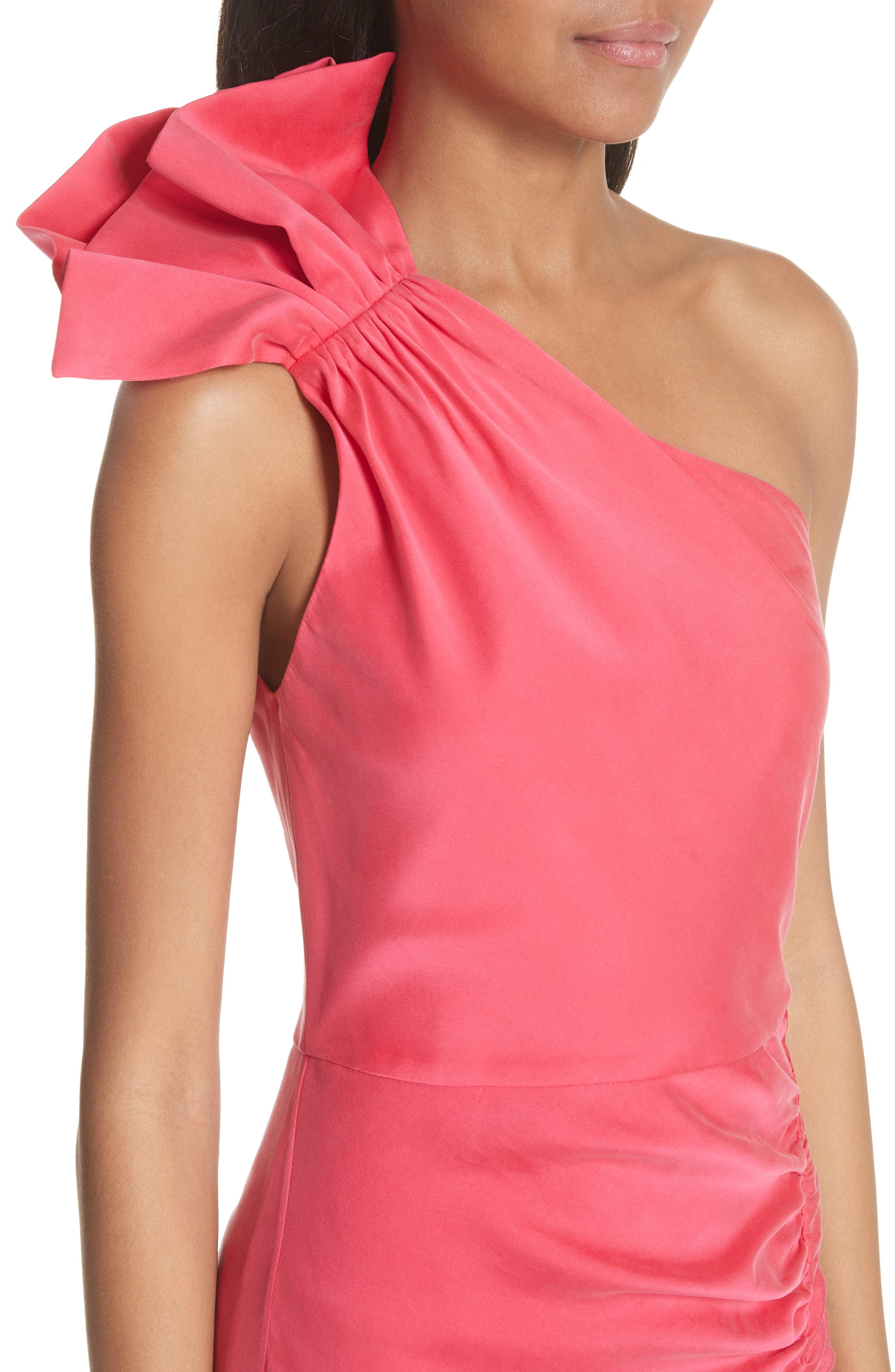 Malita One-Shoulder Fitted Mini Dress,                             Alternate thumbnail 4, color,                             Watermelon