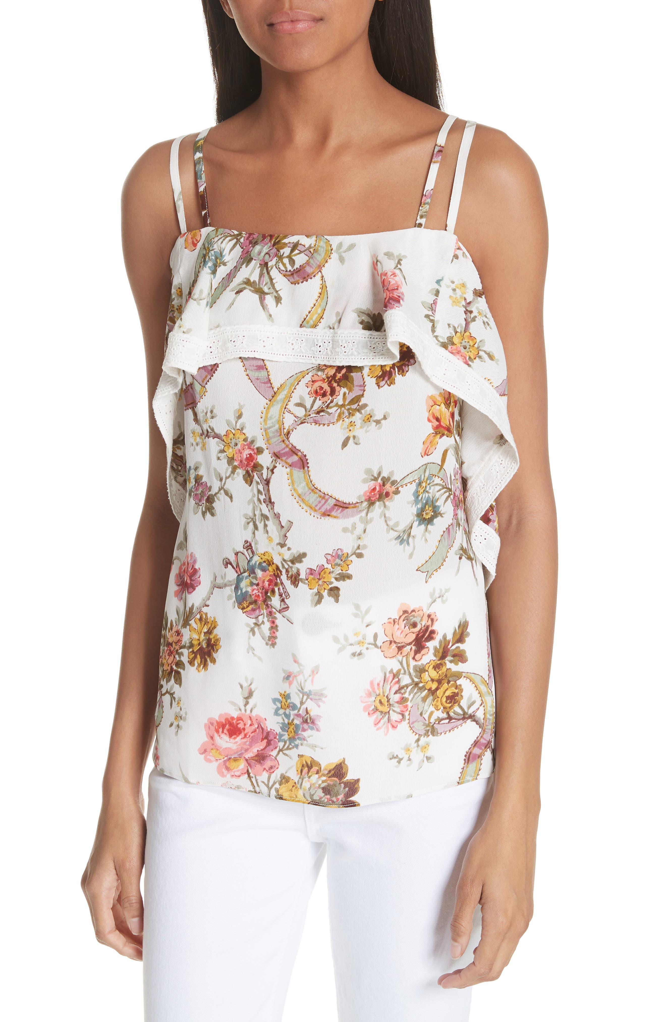Rainbow Rose Deconstructed Top,                         Main,                         color, Ivory
