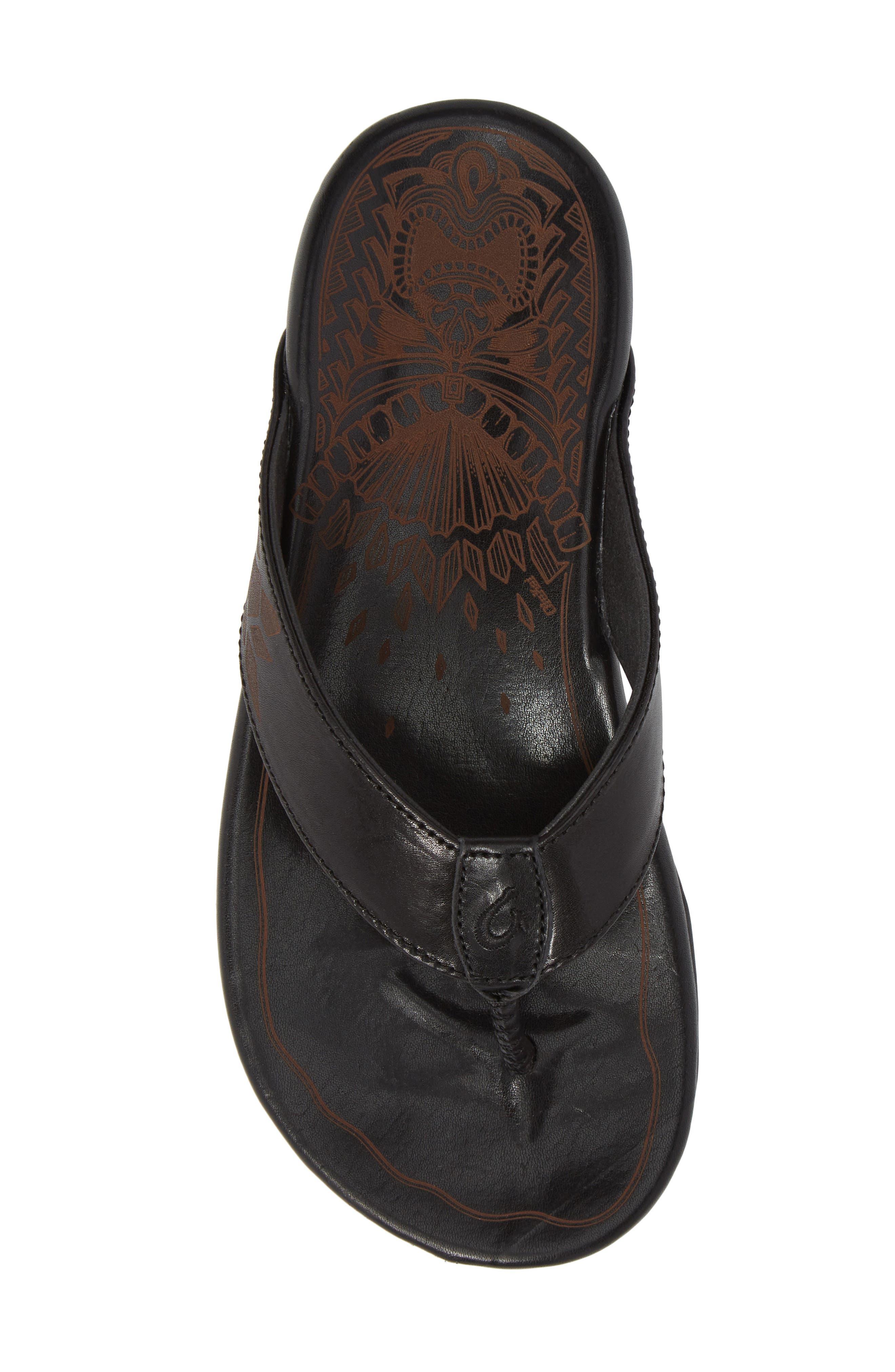 Kulia Flip Flop,                             Alternate thumbnail 5, color,                             Black/ Black Leather