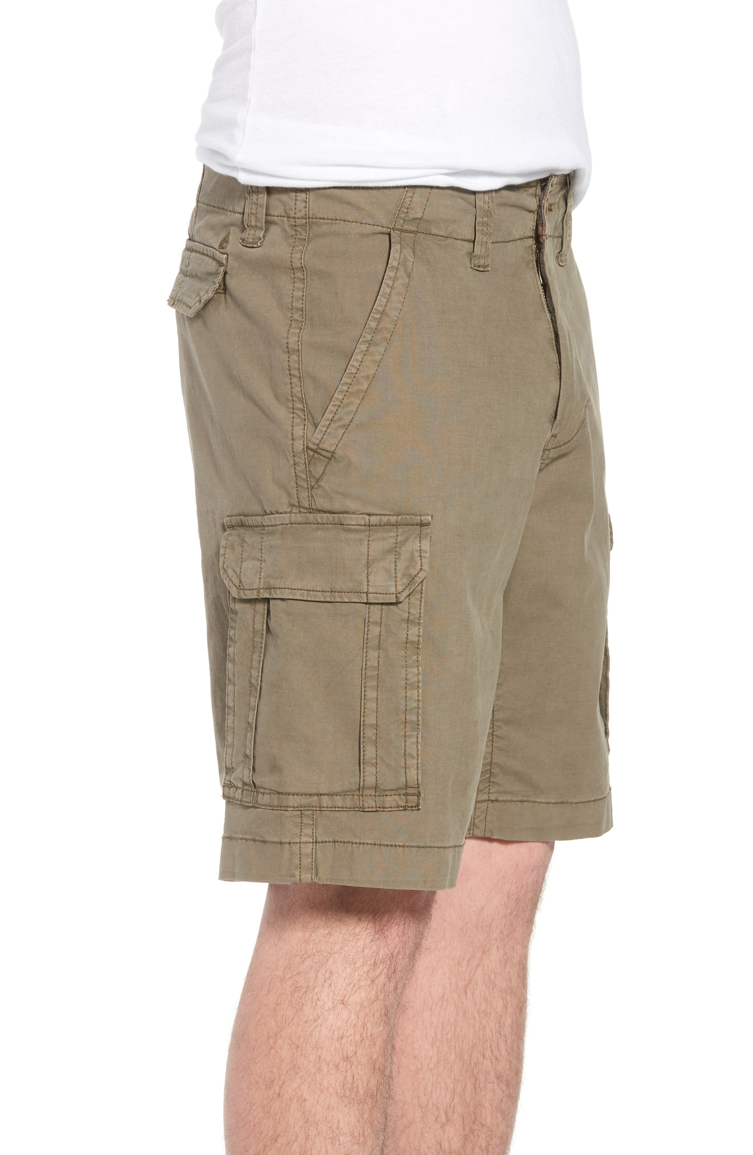 Stretch Canvas Cargo Shorts,                             Alternate thumbnail 3, color,                             Army