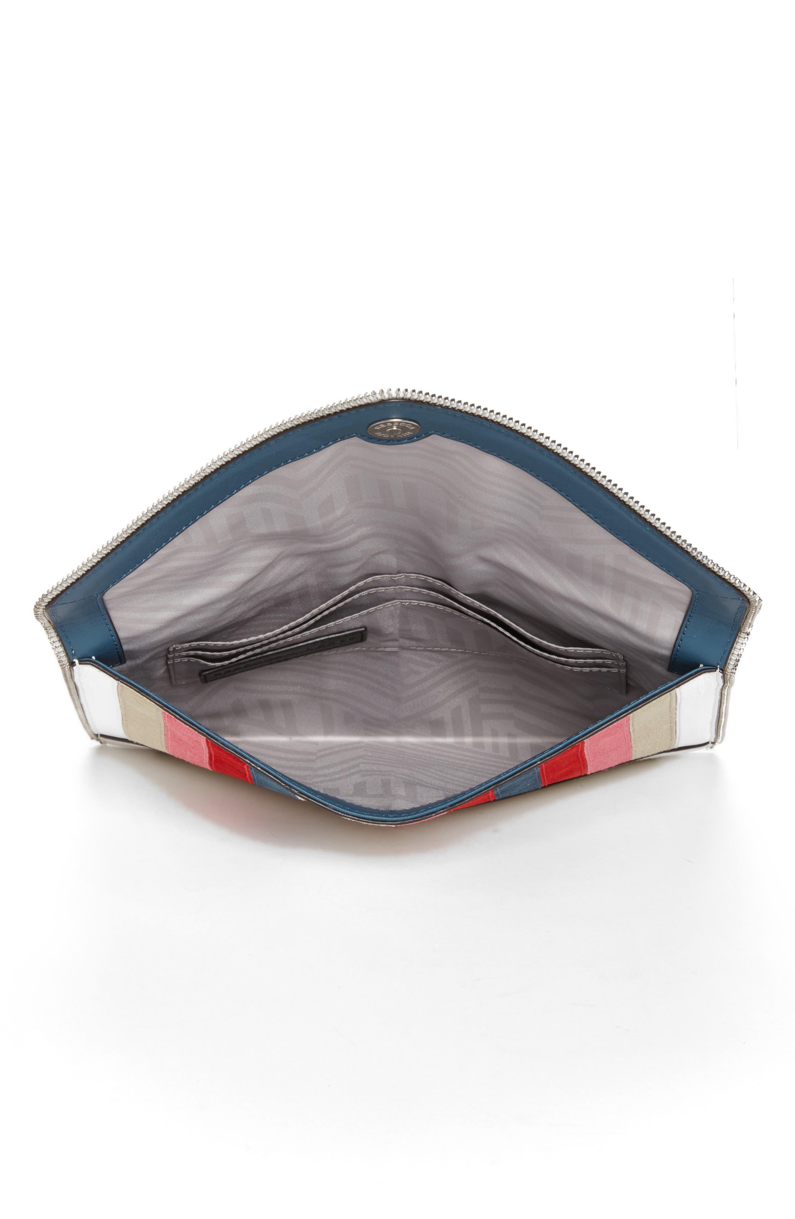 Leo Chevron Stripe Envelope Clutch,                             Alternate thumbnail 4, color,                             Pink Multi