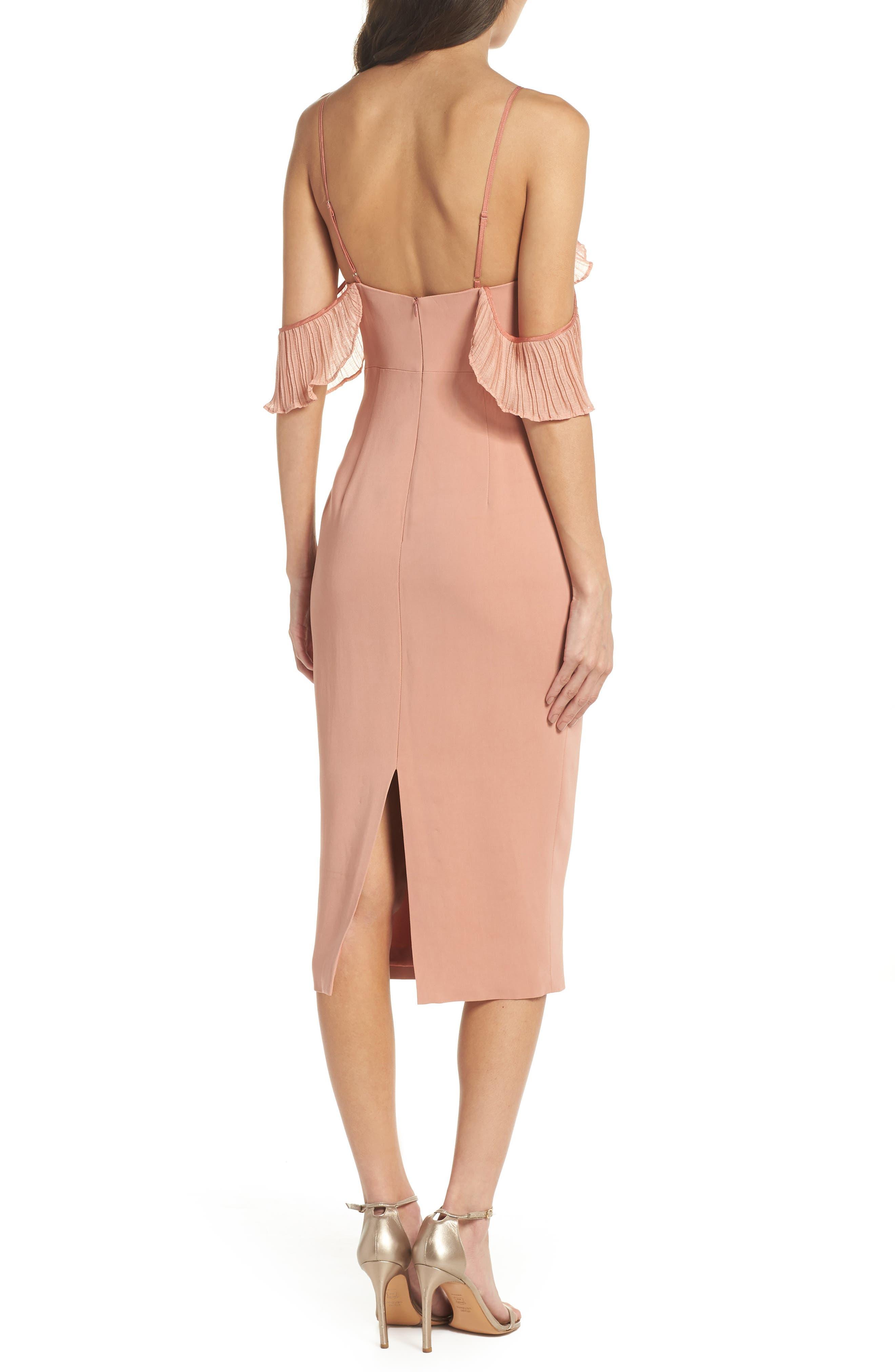 Charm Cold Shoulder Sheath Dress,                             Alternate thumbnail 2, color,                             Misty Rose