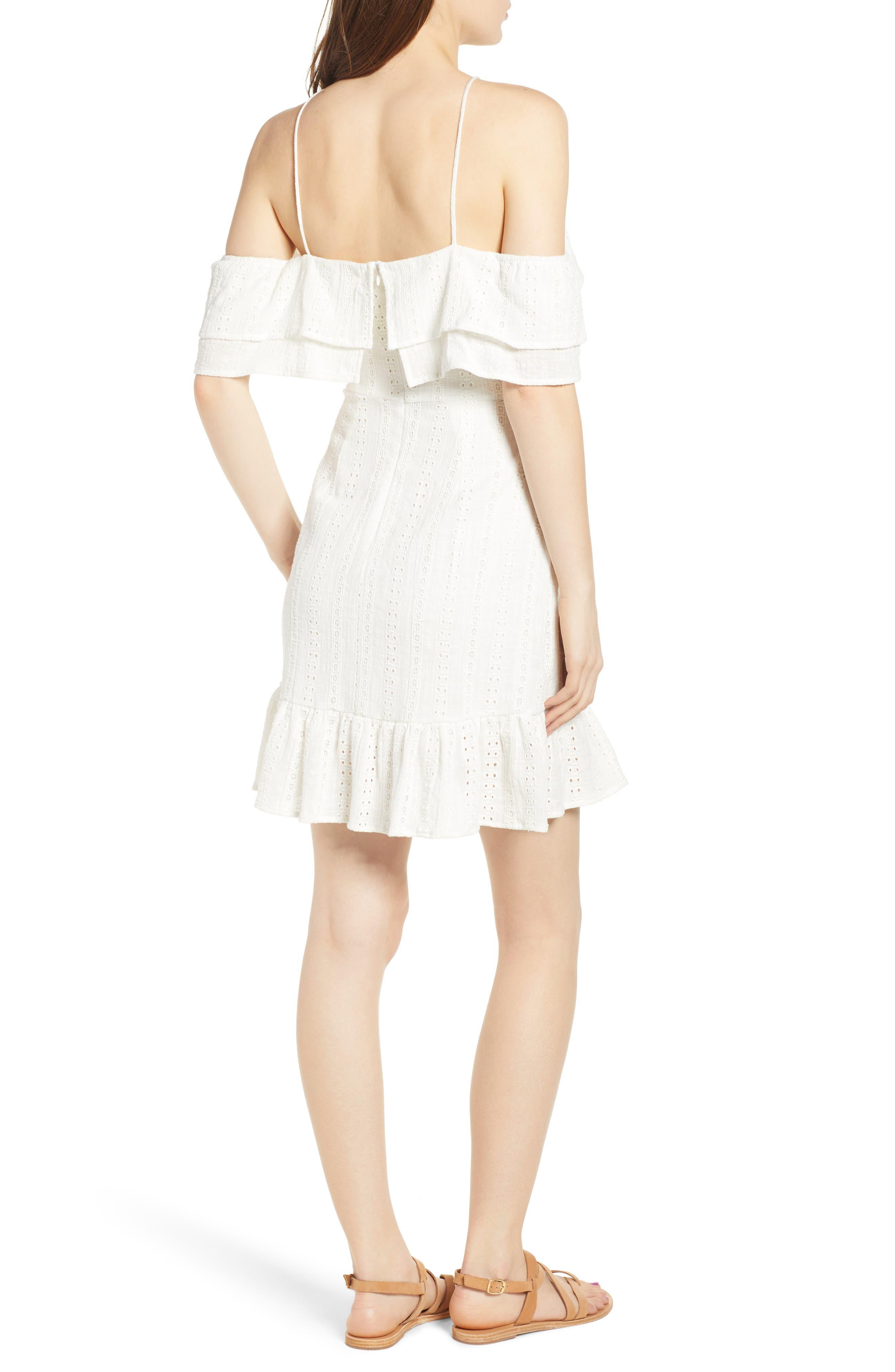 Daisy Eyelet Minidress,                             Alternate thumbnail 3, color,                             White