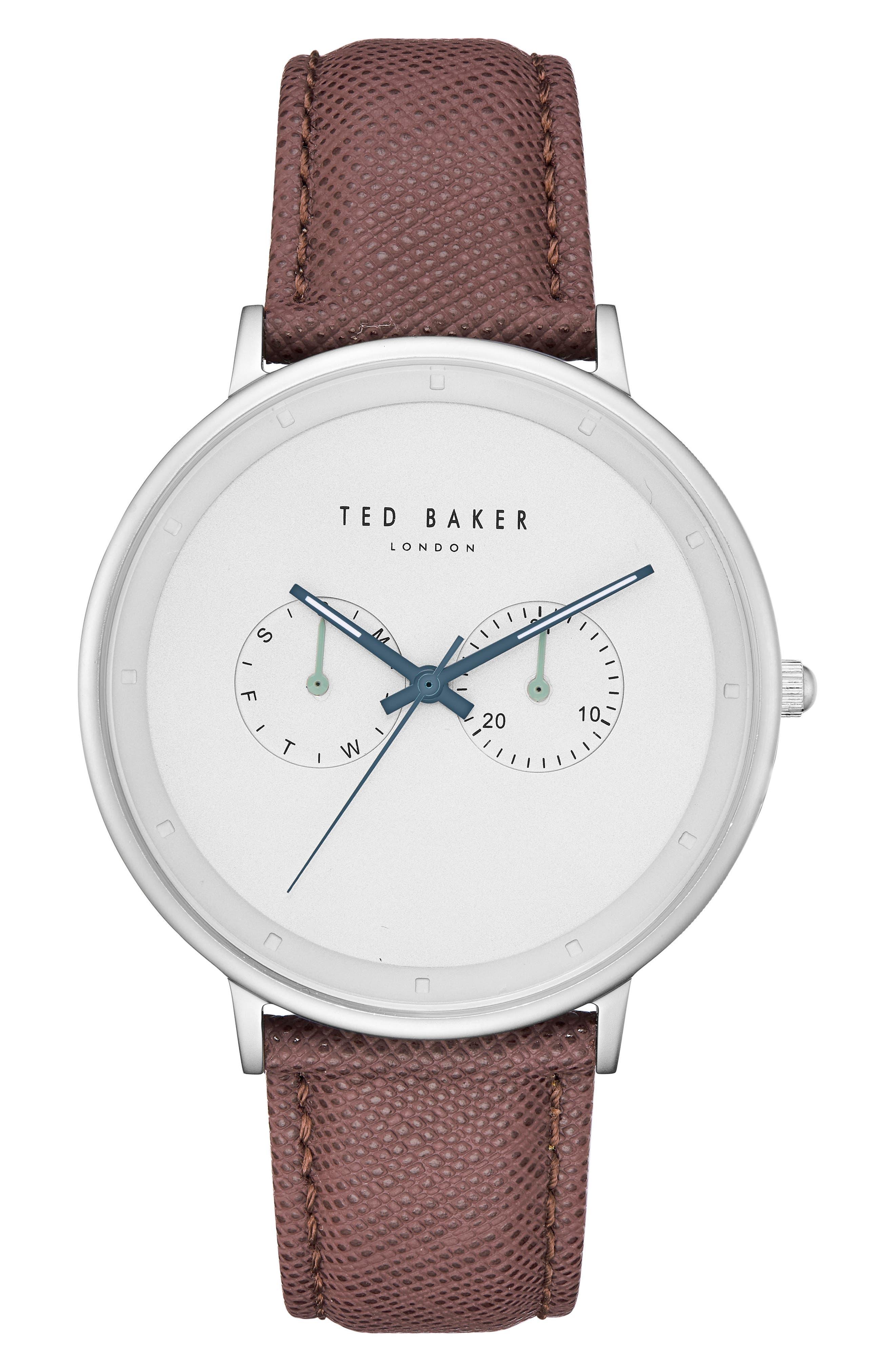 Brad Multifuntion Leather Strap Watch, 42 mm,                         Main,                         color, Light Grey/ Dark Brown