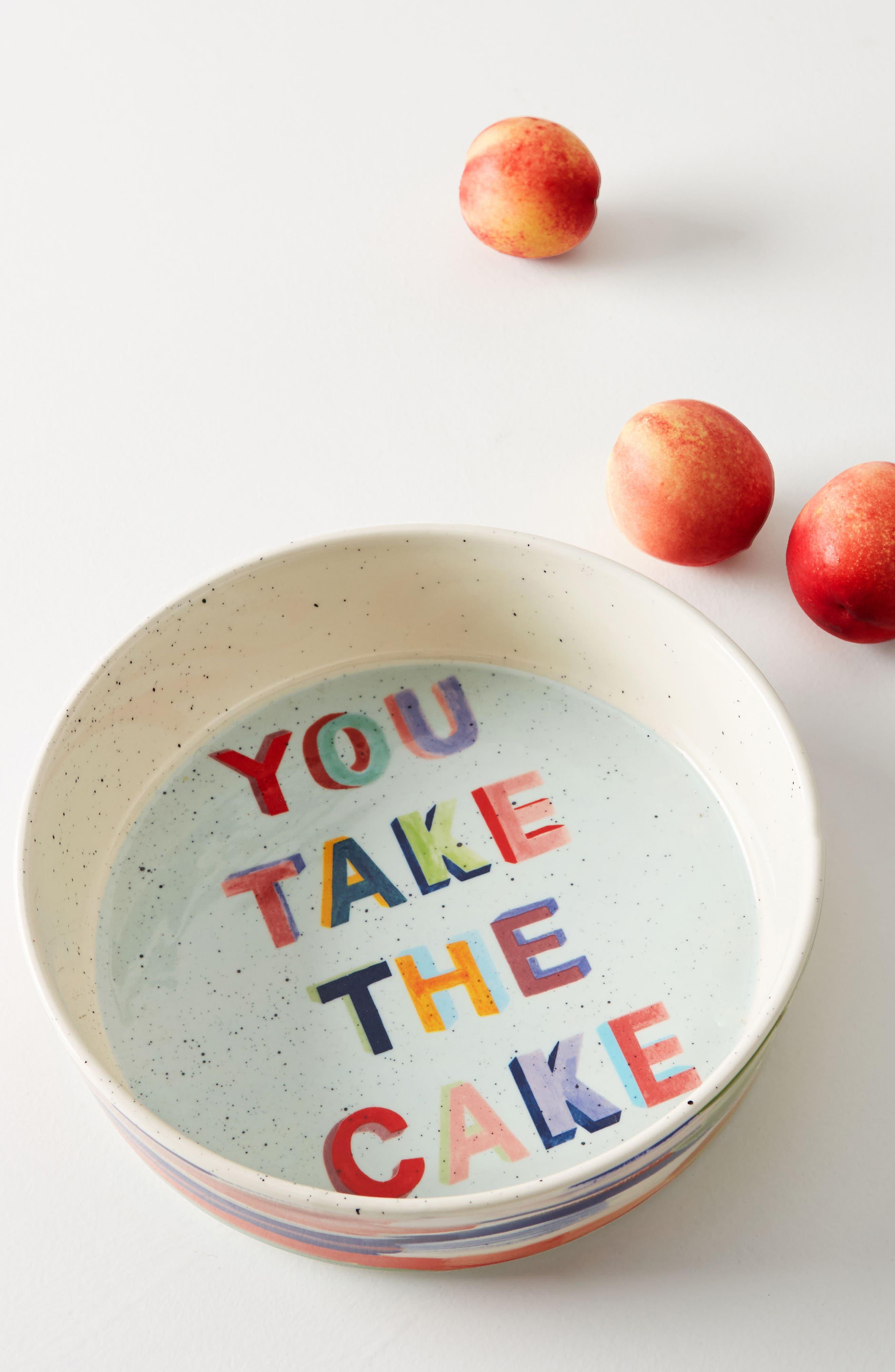 Painter's Palette Stoneware Pie Dish,                             Main thumbnail 1, color,                             White