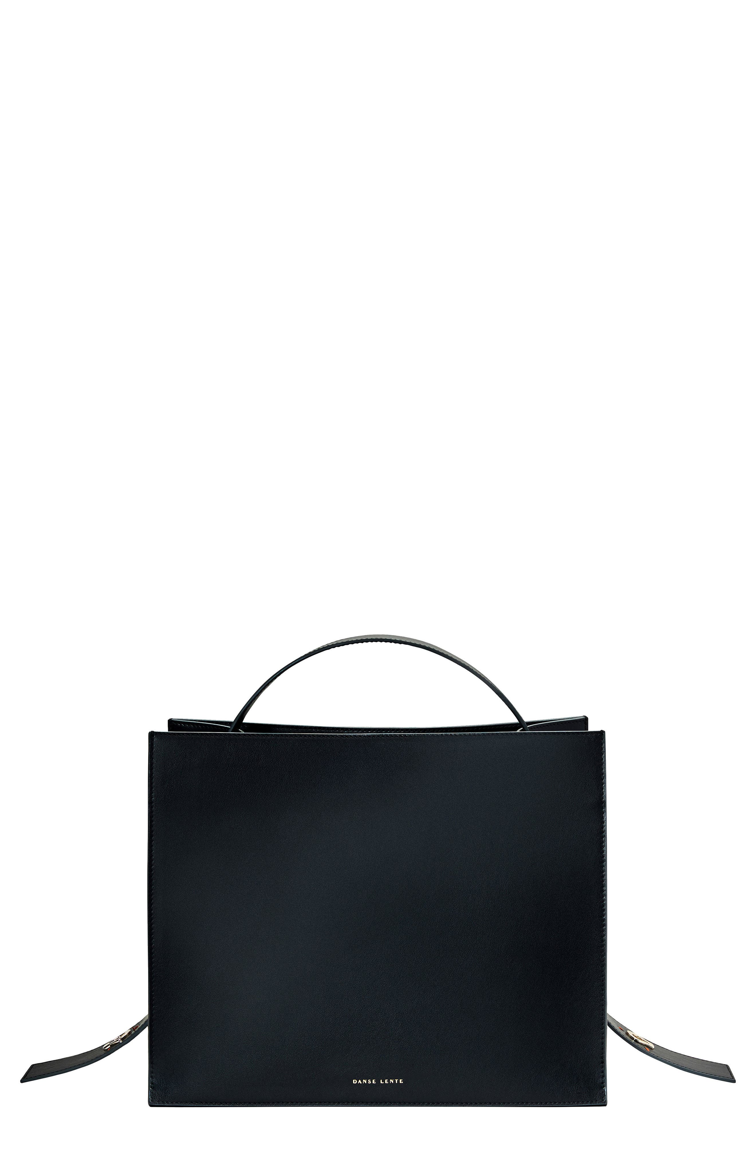 Young Leather Tote Bag,                             Main thumbnail 1, color,                             Black
