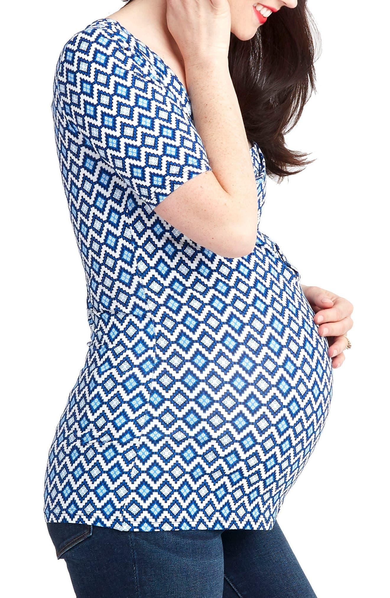 Snap Placket Maternity/Nursing Tee,                             Alternate thumbnail 4, color,                             Blue Geo