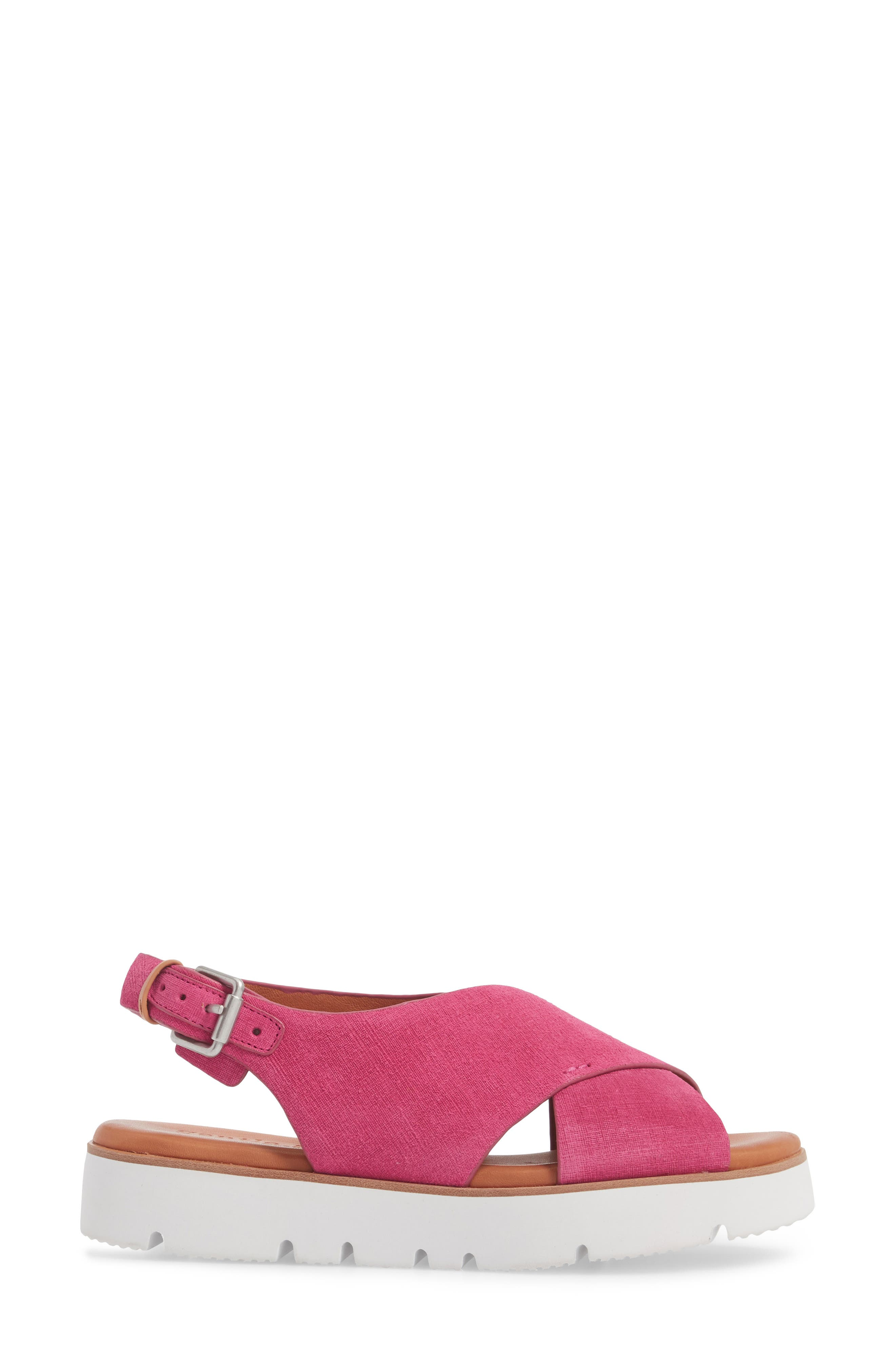 by Kenneth Cole Kiki Platform Sandal,                             Alternate thumbnail 3, color,                             Fuchsia Suede