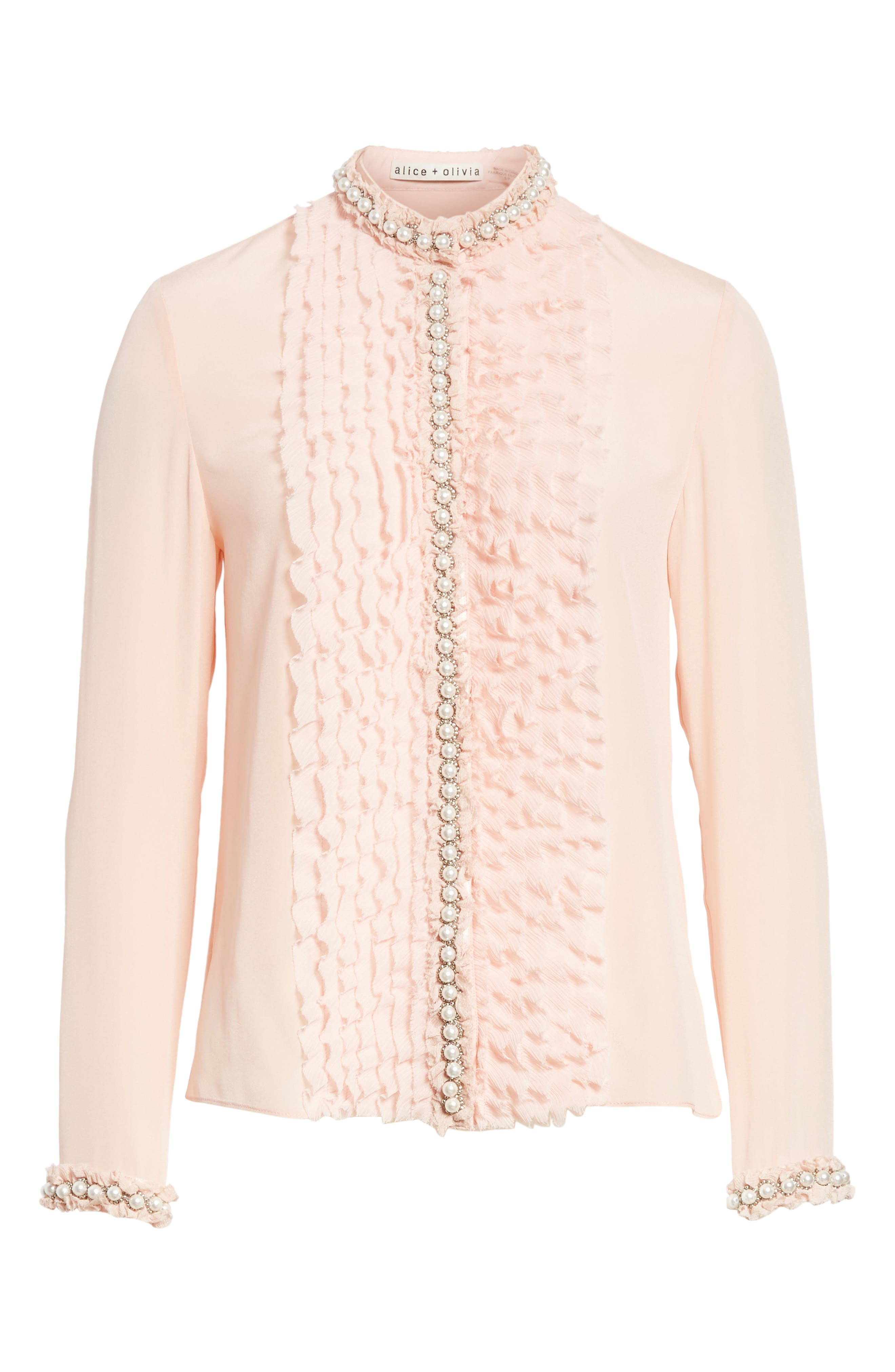 Bejeweled Button Down Silk Top,                             Alternate thumbnail 6, color,                             Blush