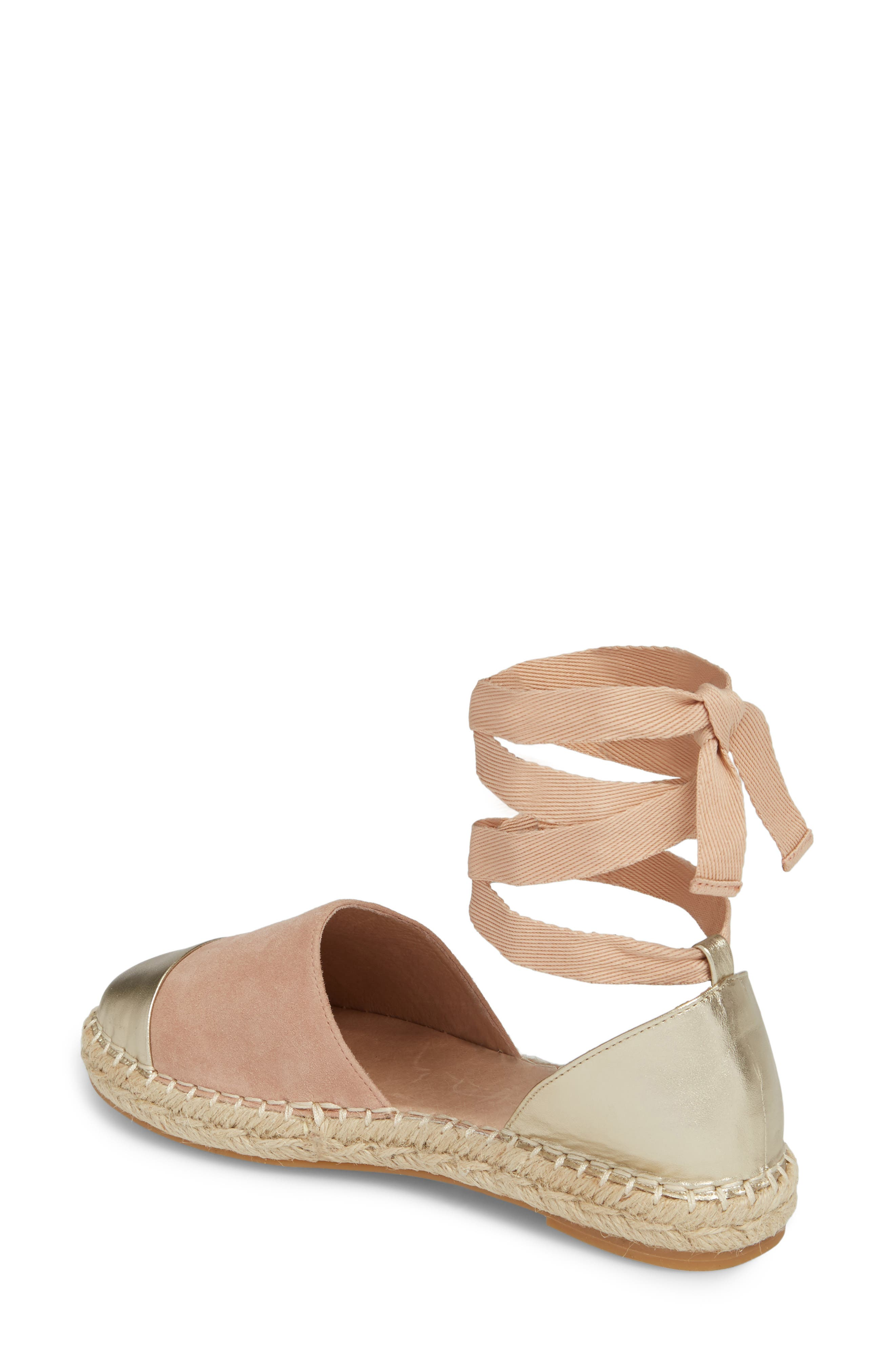 Cain Ankle-Tie Sandal,                             Alternate thumbnail 2, color,                             Nude Suede/ Gold Leather