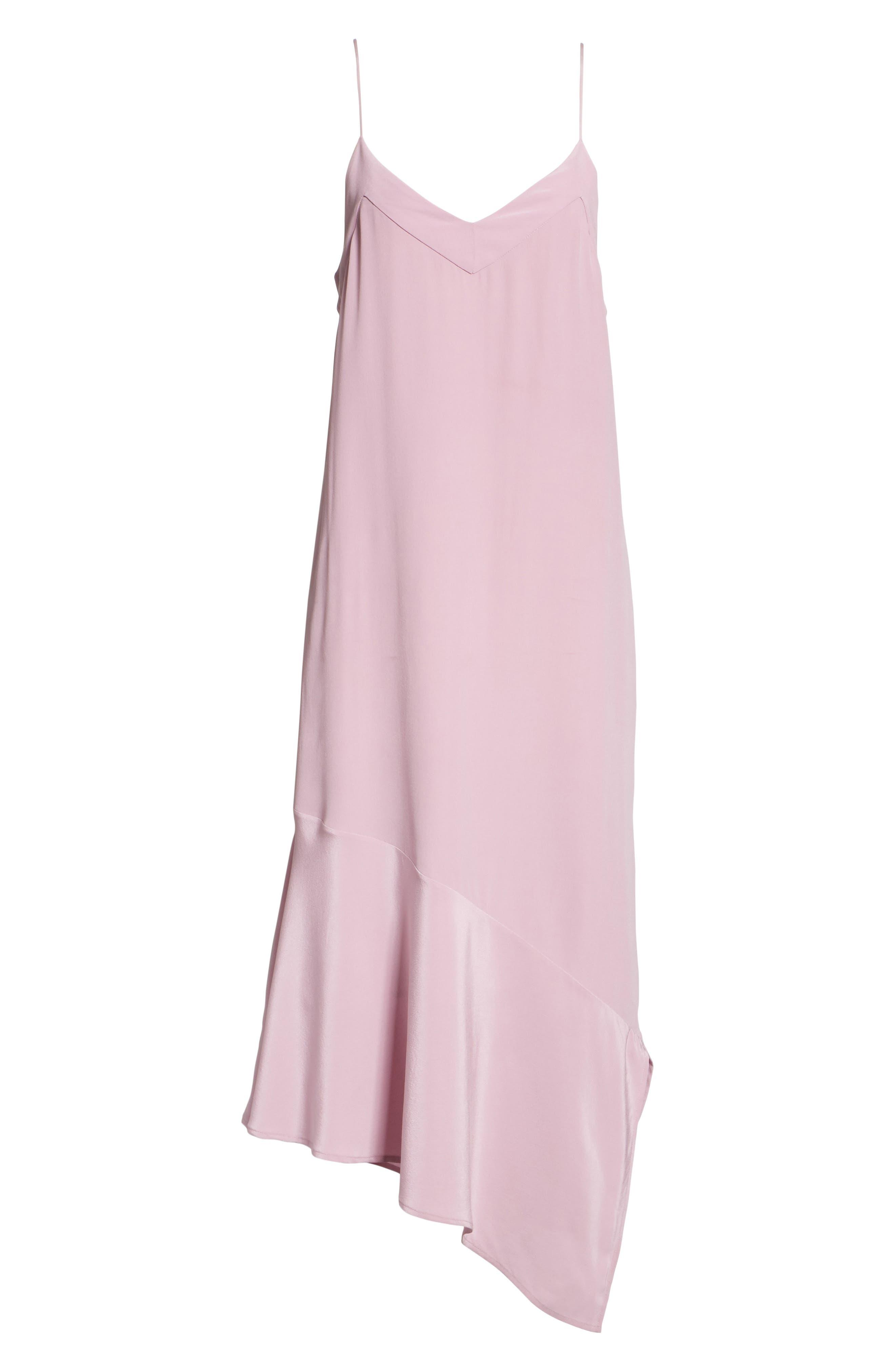 Jada Asymmetrical Silk Slip Dress,                             Alternate thumbnail 7, color,                             Orchid Smoke