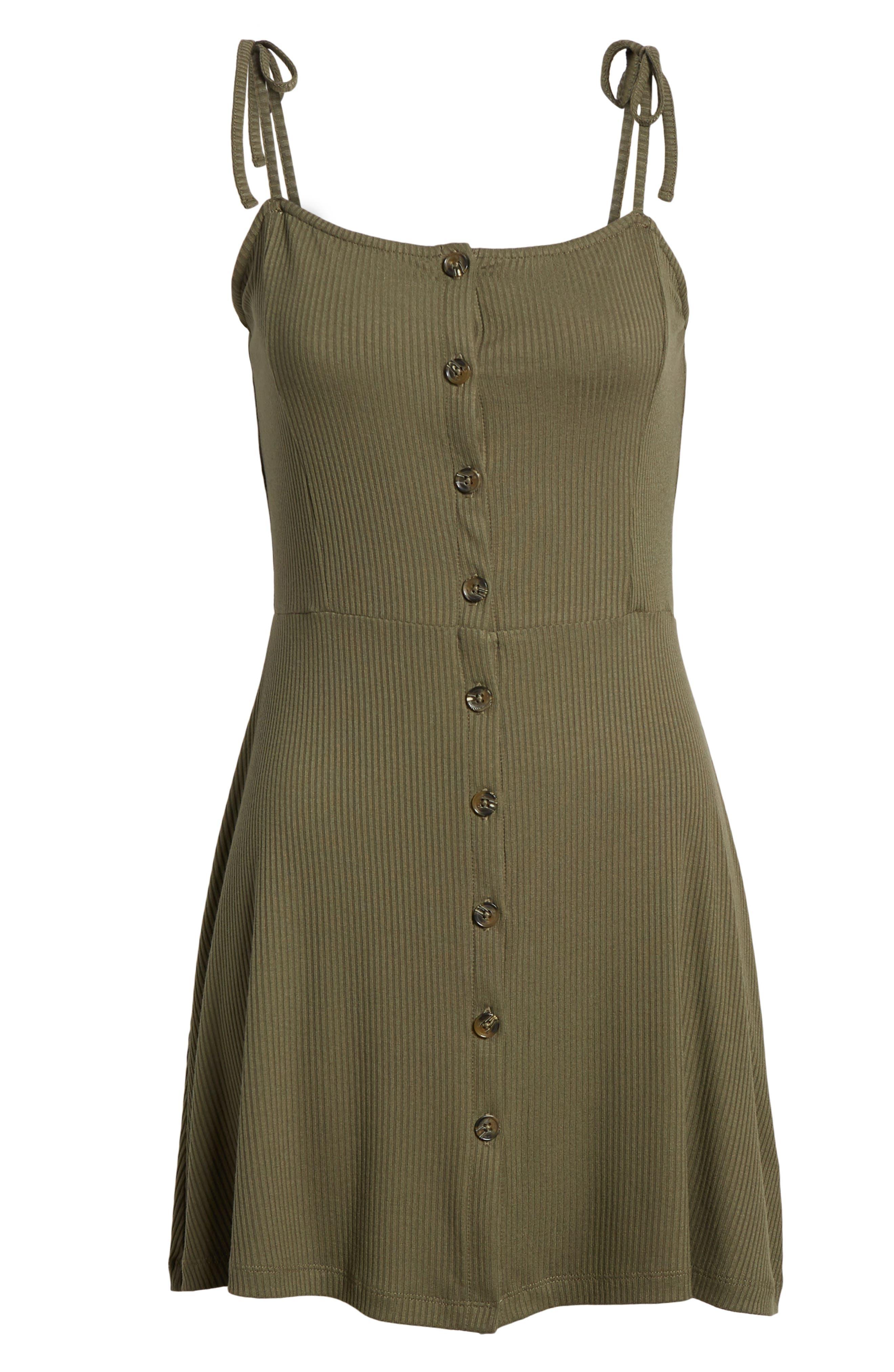 Button Down Rib Minidress,                             Alternate thumbnail 7, color,                             Olive