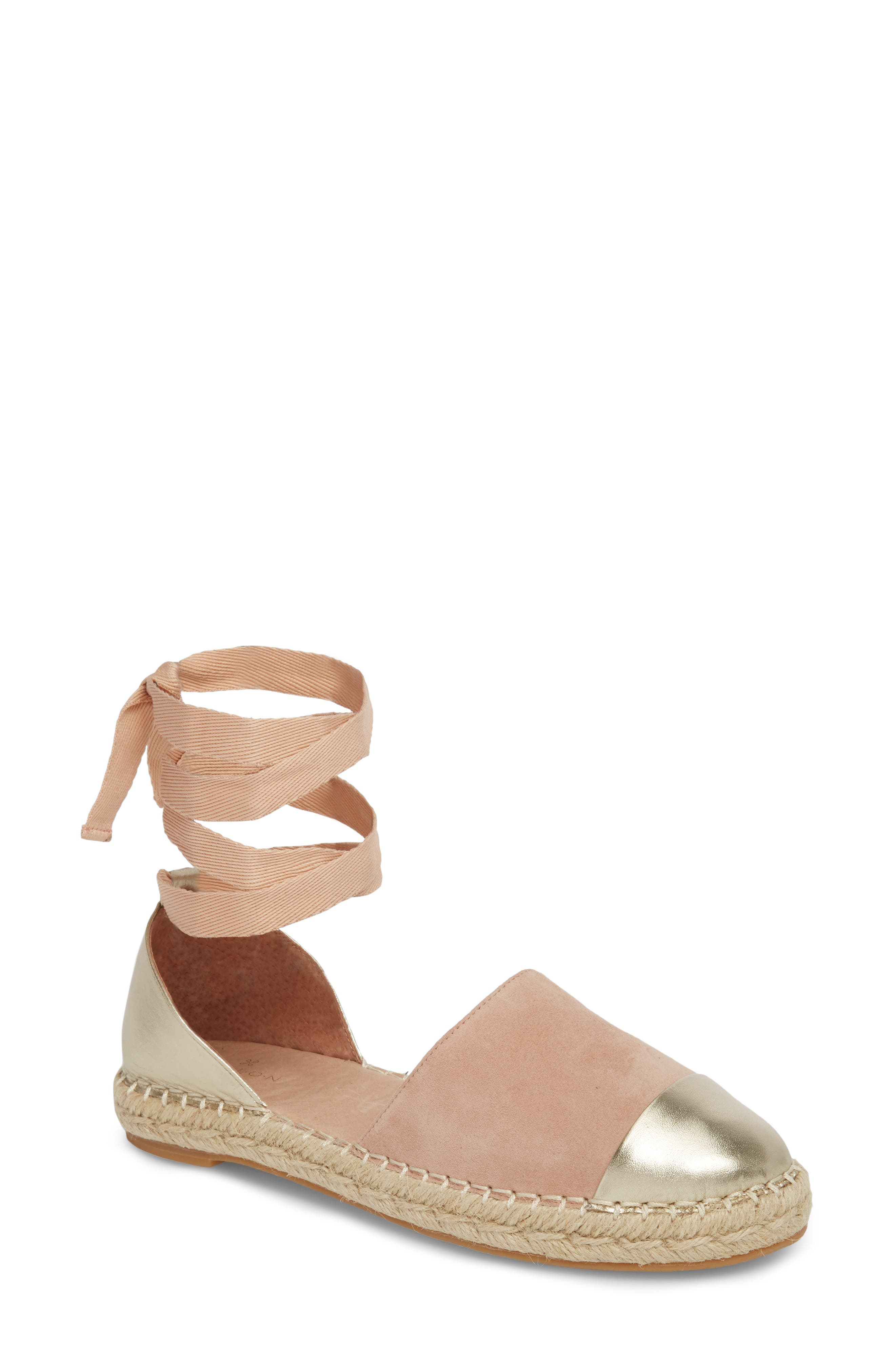 Cain Ankle-Tie Sandal,                             Main thumbnail 1, color,                             Nude Suede/ Gold Leather