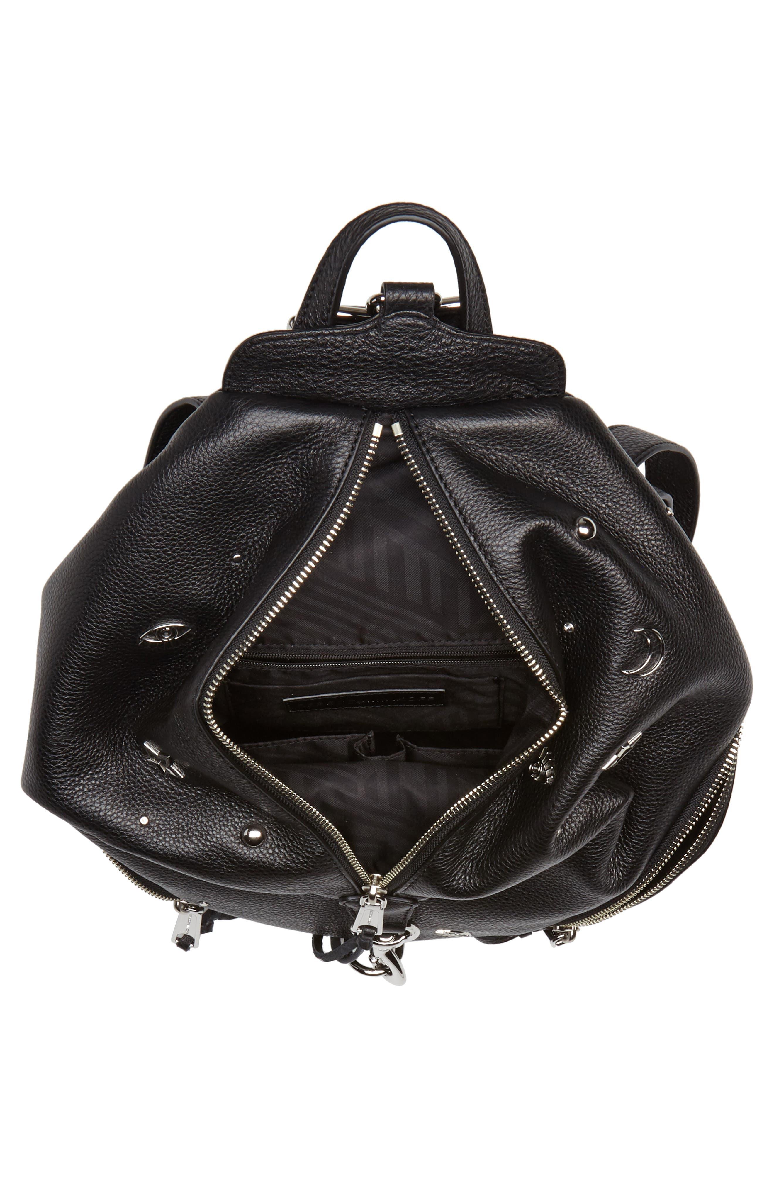 Julian Embellished Leather Backpack,                             Alternate thumbnail 4, color,                             Black
