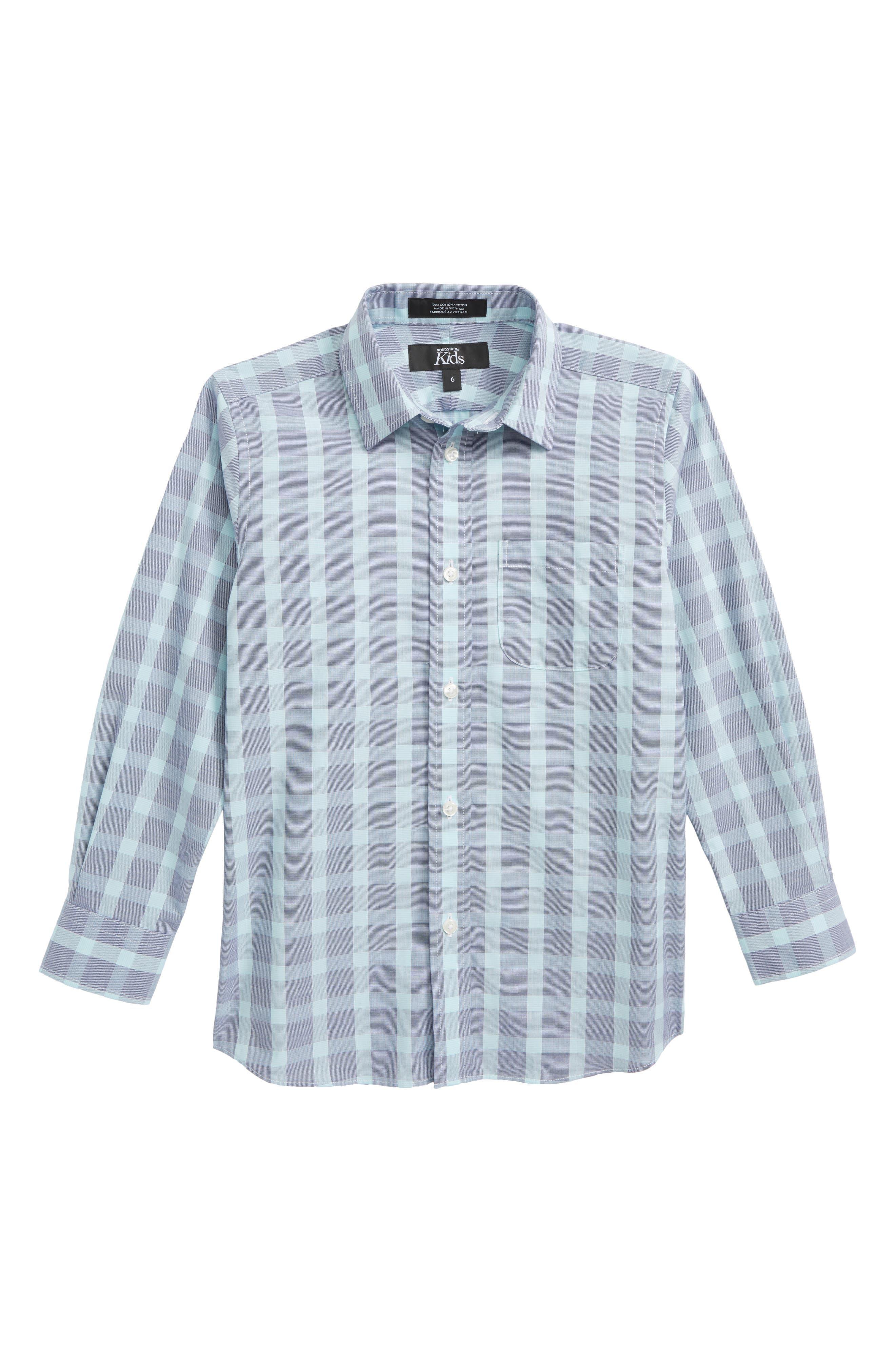 Plaid Dress Shirt,                             Main thumbnail 1, color,                             Navy Ribbon- Teal Plaid