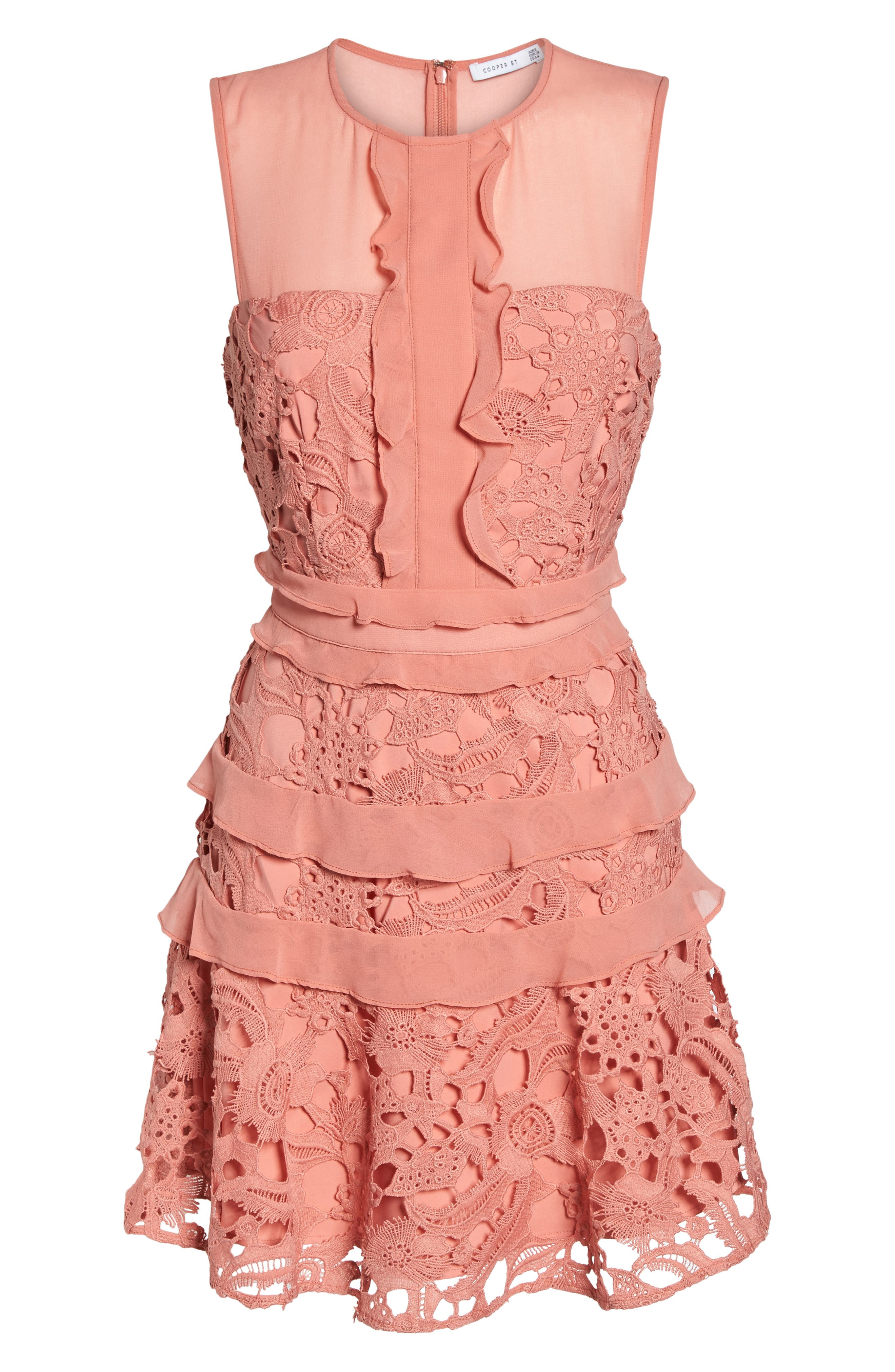 Lace Parfait Minidress,                             Alternate thumbnail 6, color,                             Dusty Rose