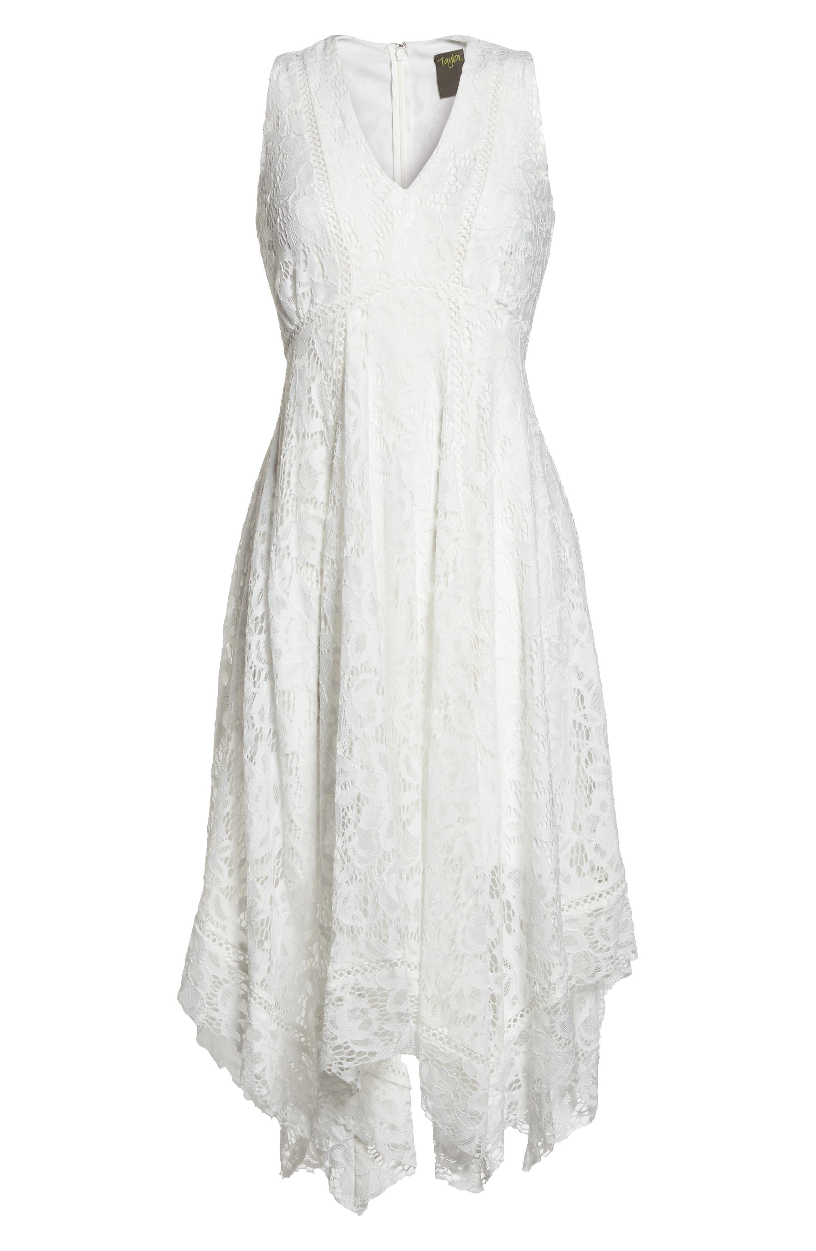 Lace Midi Dress,                             Alternate thumbnail 7, color,                             Ivory
