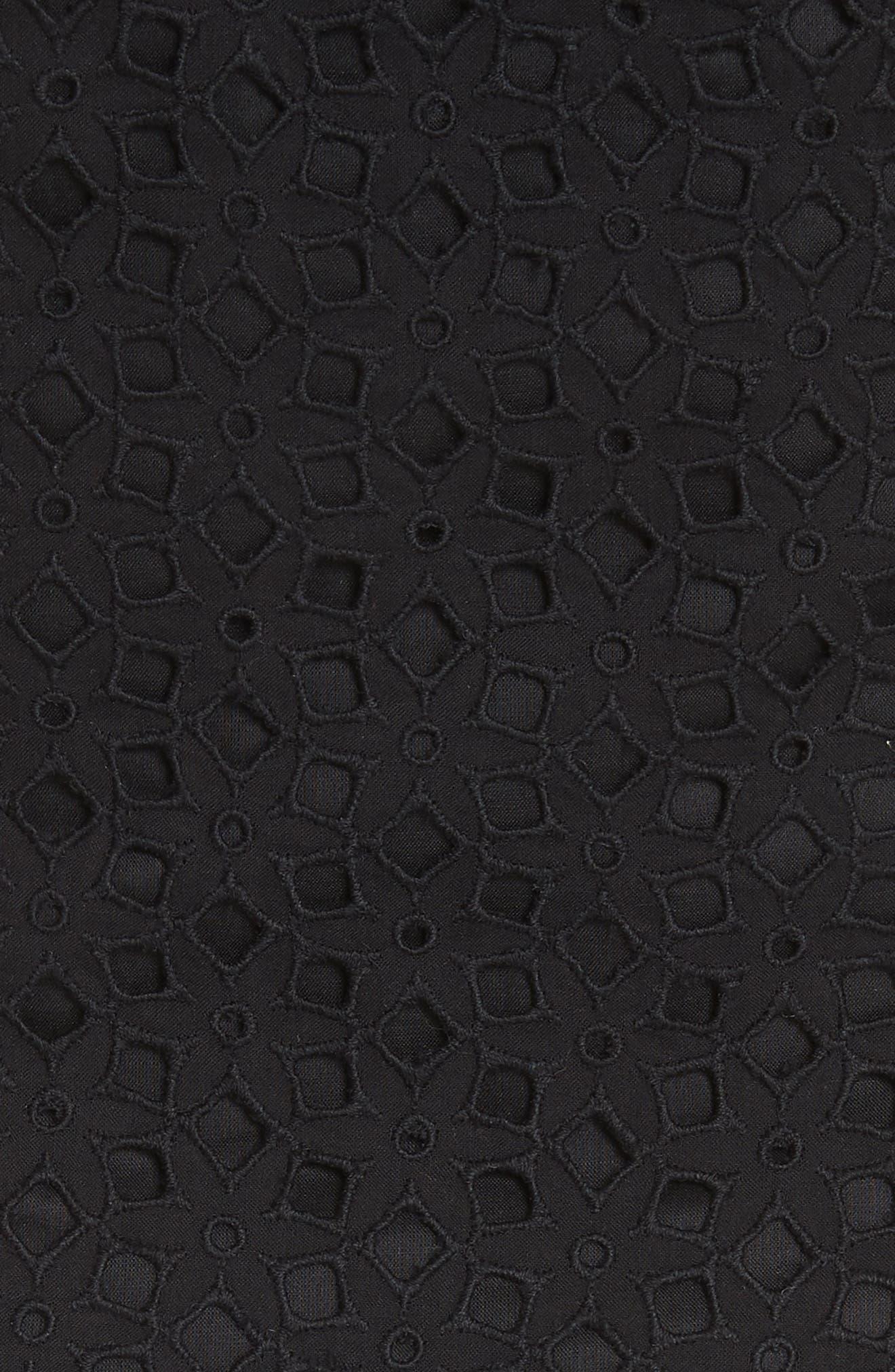 Karissa Floral Cotton Eyelet Bustier,                             Alternate thumbnail 5, color,                             Black