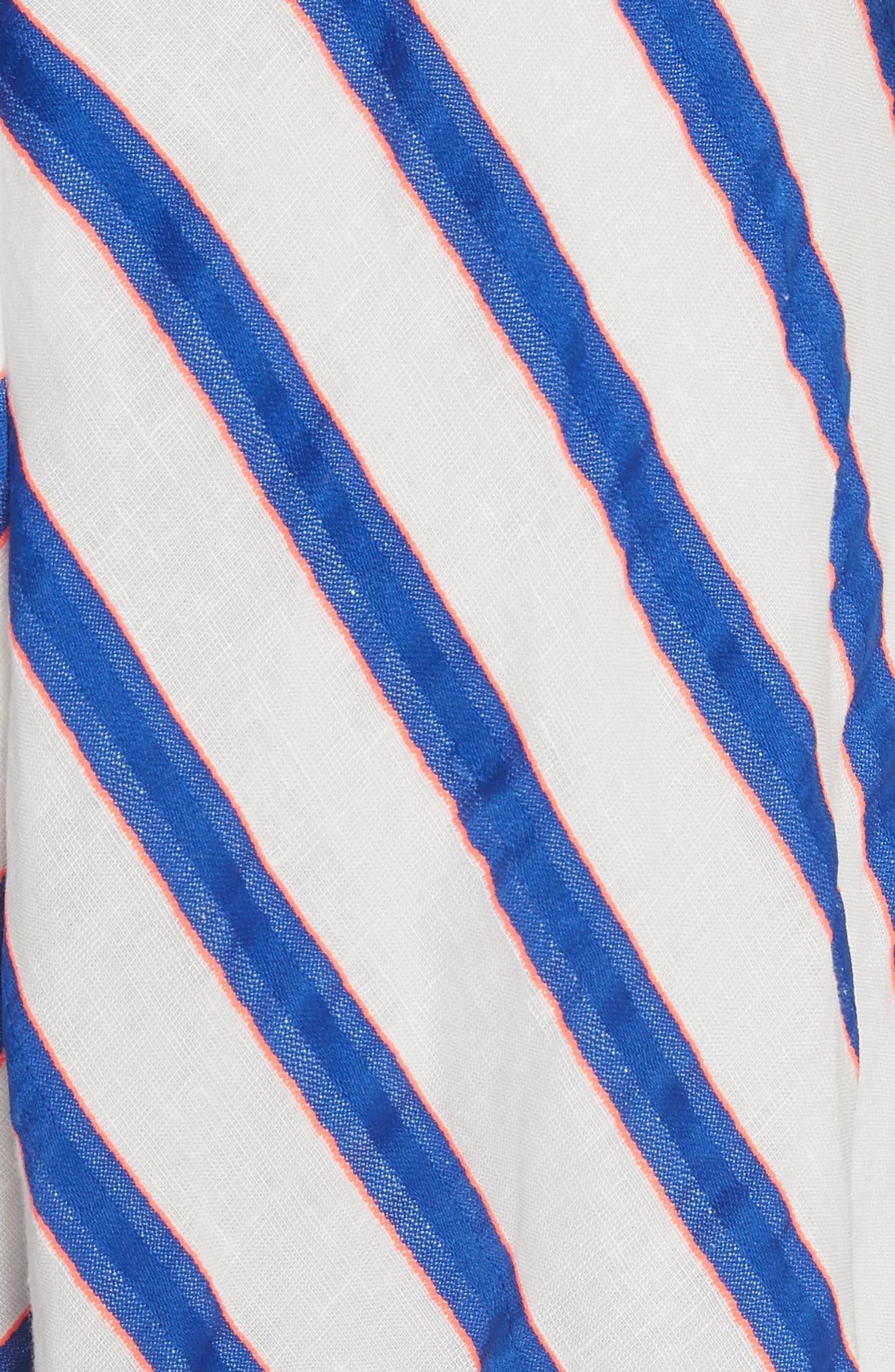 Stripe Washed Linen Blend Sundress,                             Alternate thumbnail 5, color,                             Cobalt