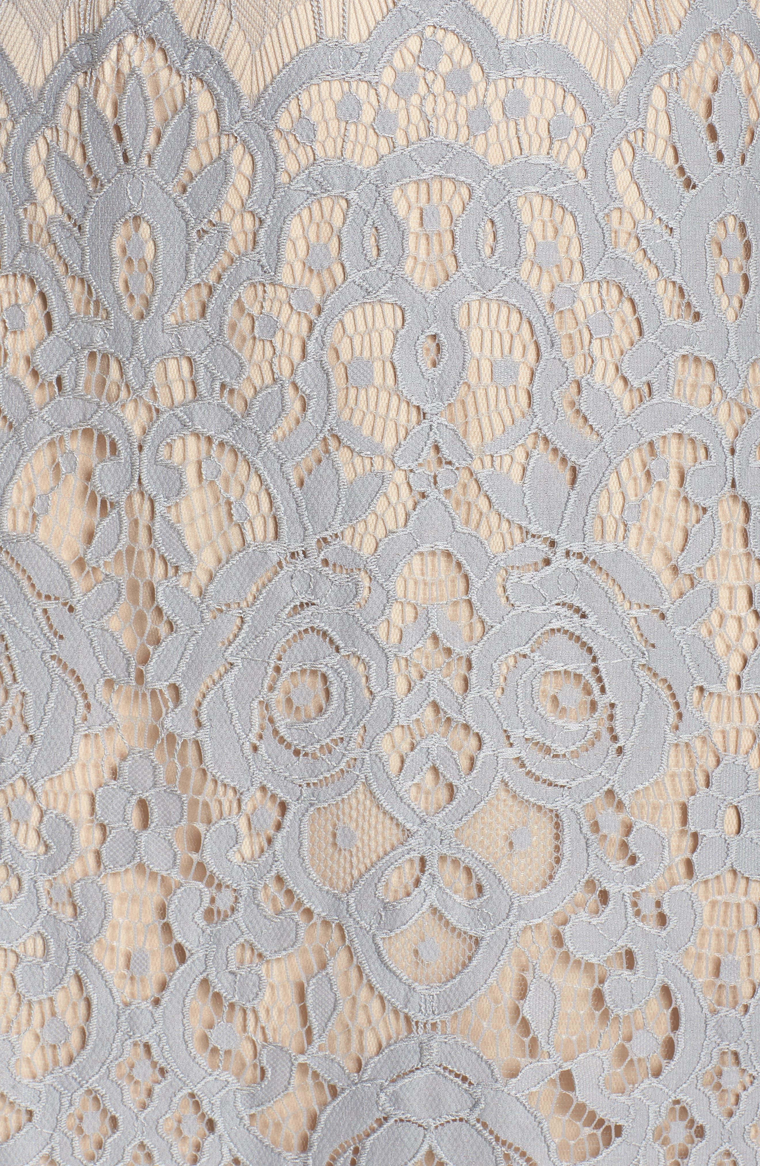 Lace Sheath Dress,                             Alternate thumbnail 5, color,                             Pewter/ Petal