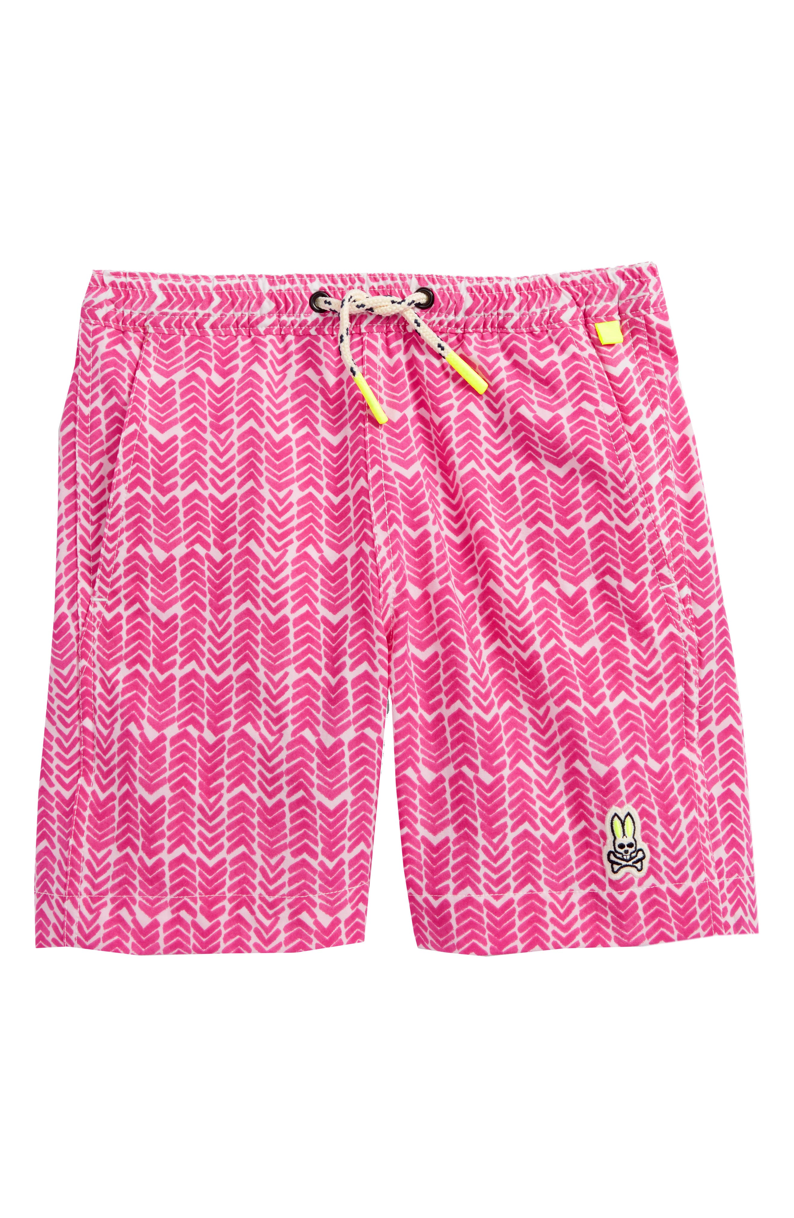 Watermark Herringbone Swim Trunks,                         Main,                         color, Fushia