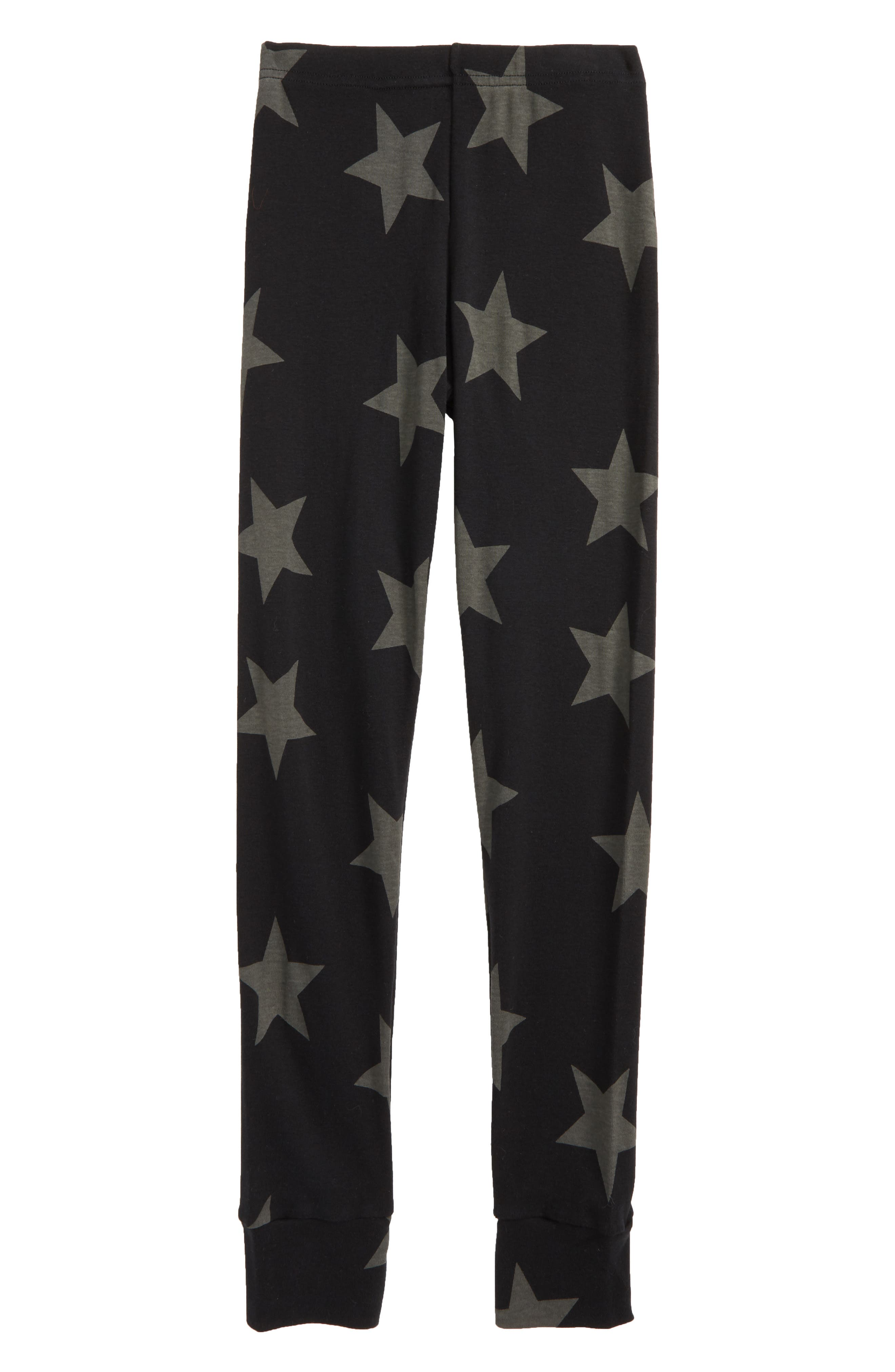 Star Print Leggings,                             Main thumbnail 1, color,                             Black