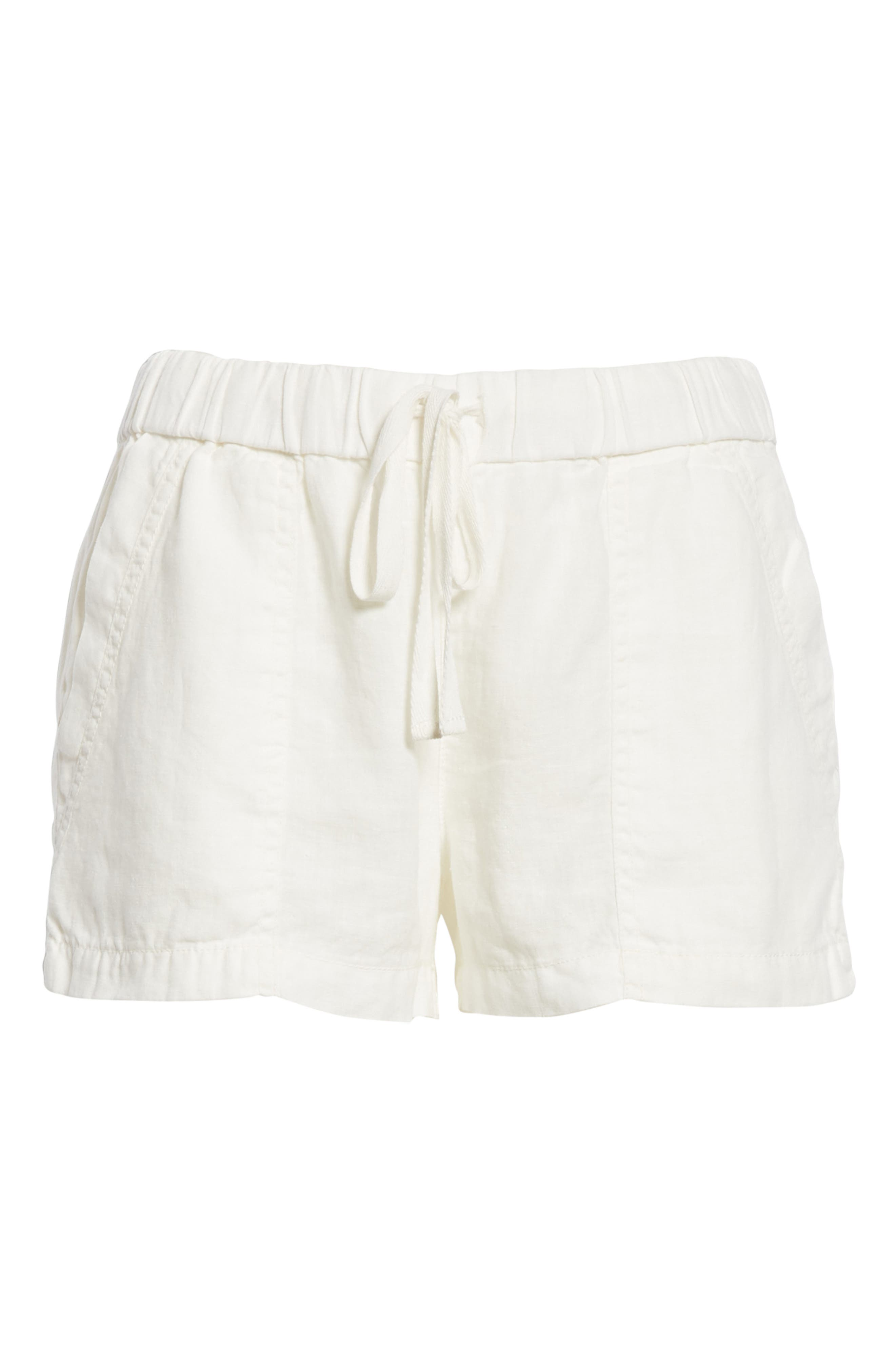 Fosette Linen Drawstring Shorts,                             Alternate thumbnail 6, color,                             Porcelain