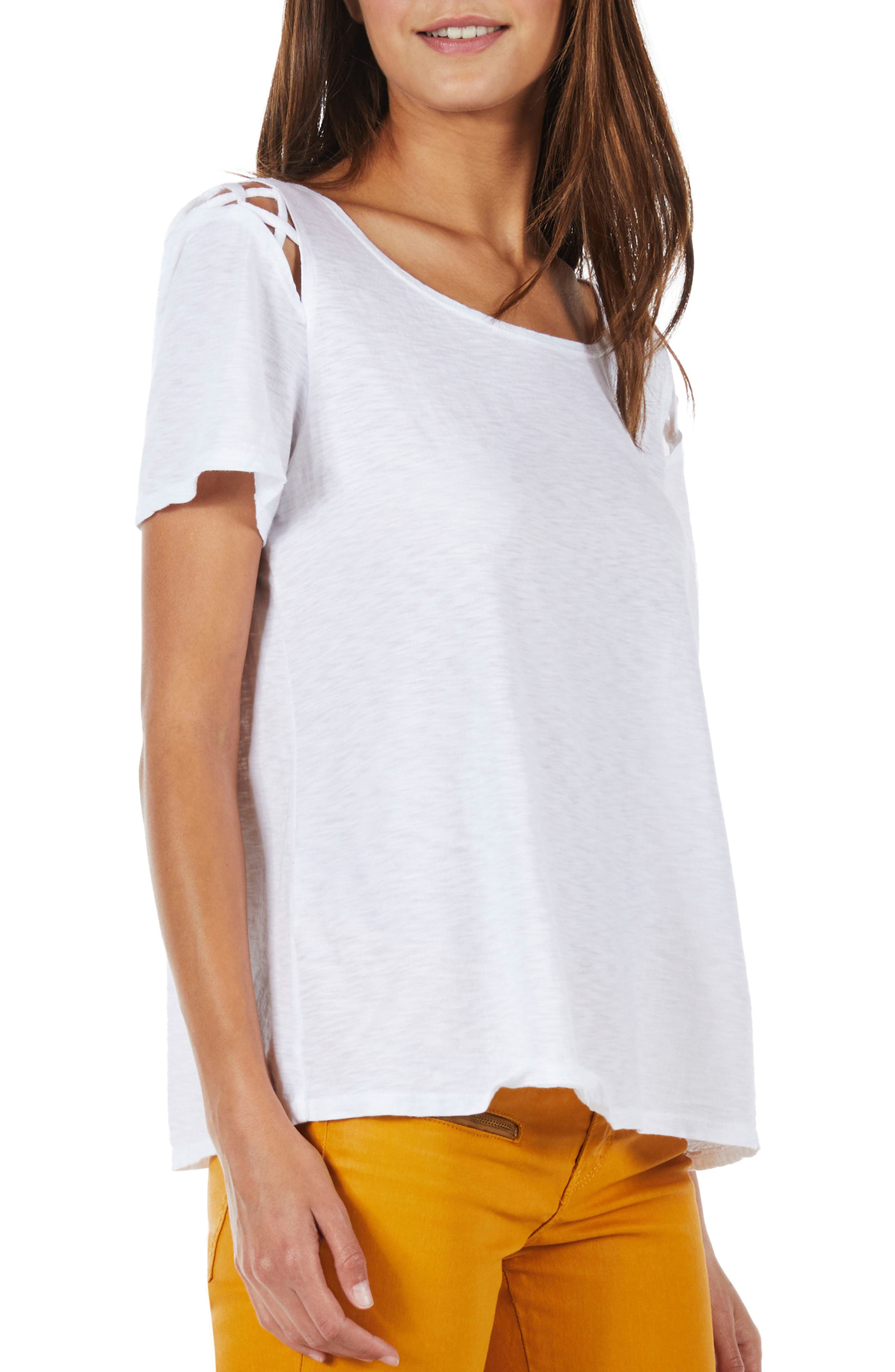 Crisscross Detail Swing Tee,                             Alternate thumbnail 3, color,                             White