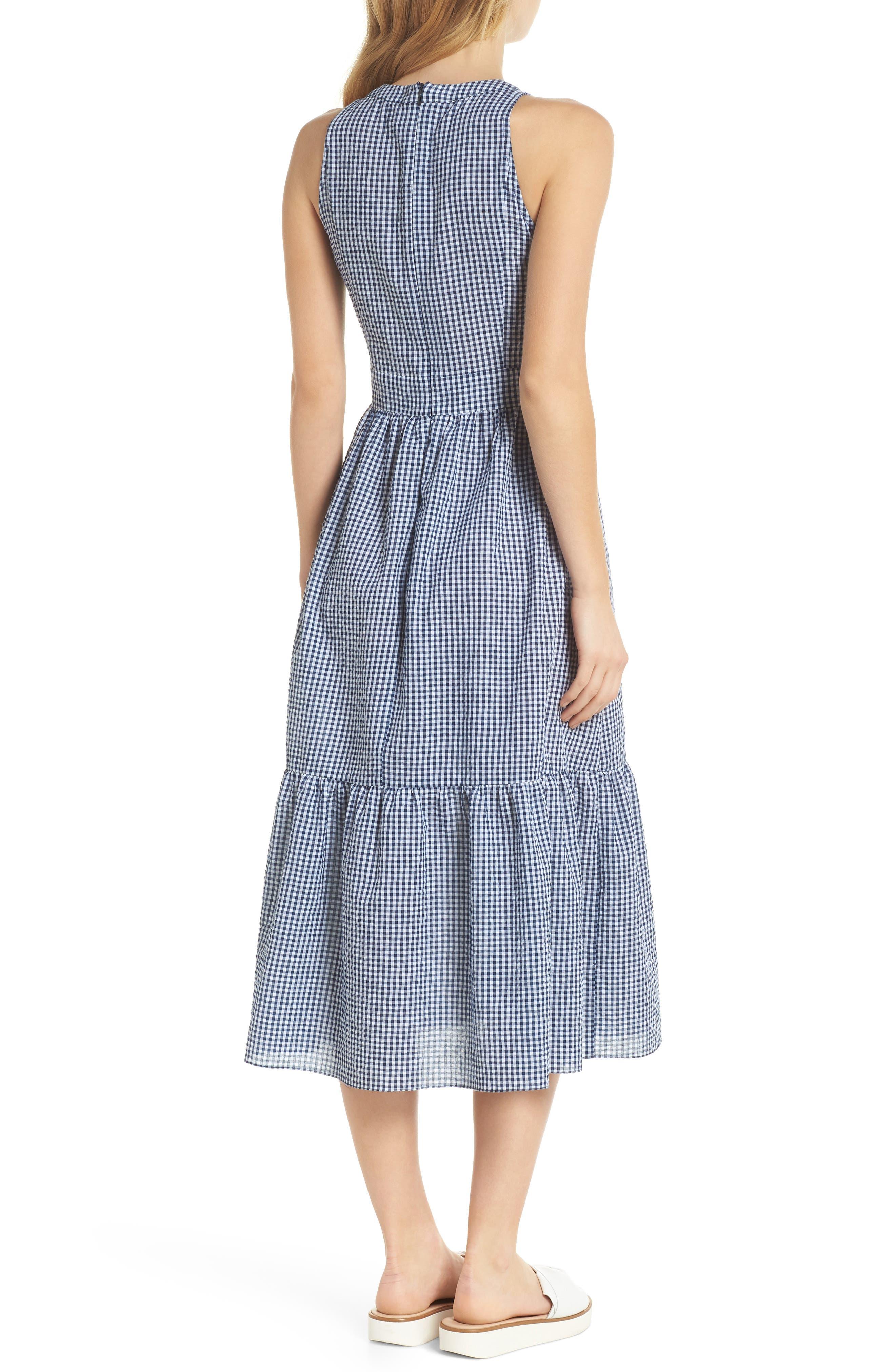 Ardith Gingham Fit & Flare Midi Dress,                             Alternate thumbnail 3, color,                             Blue/ White