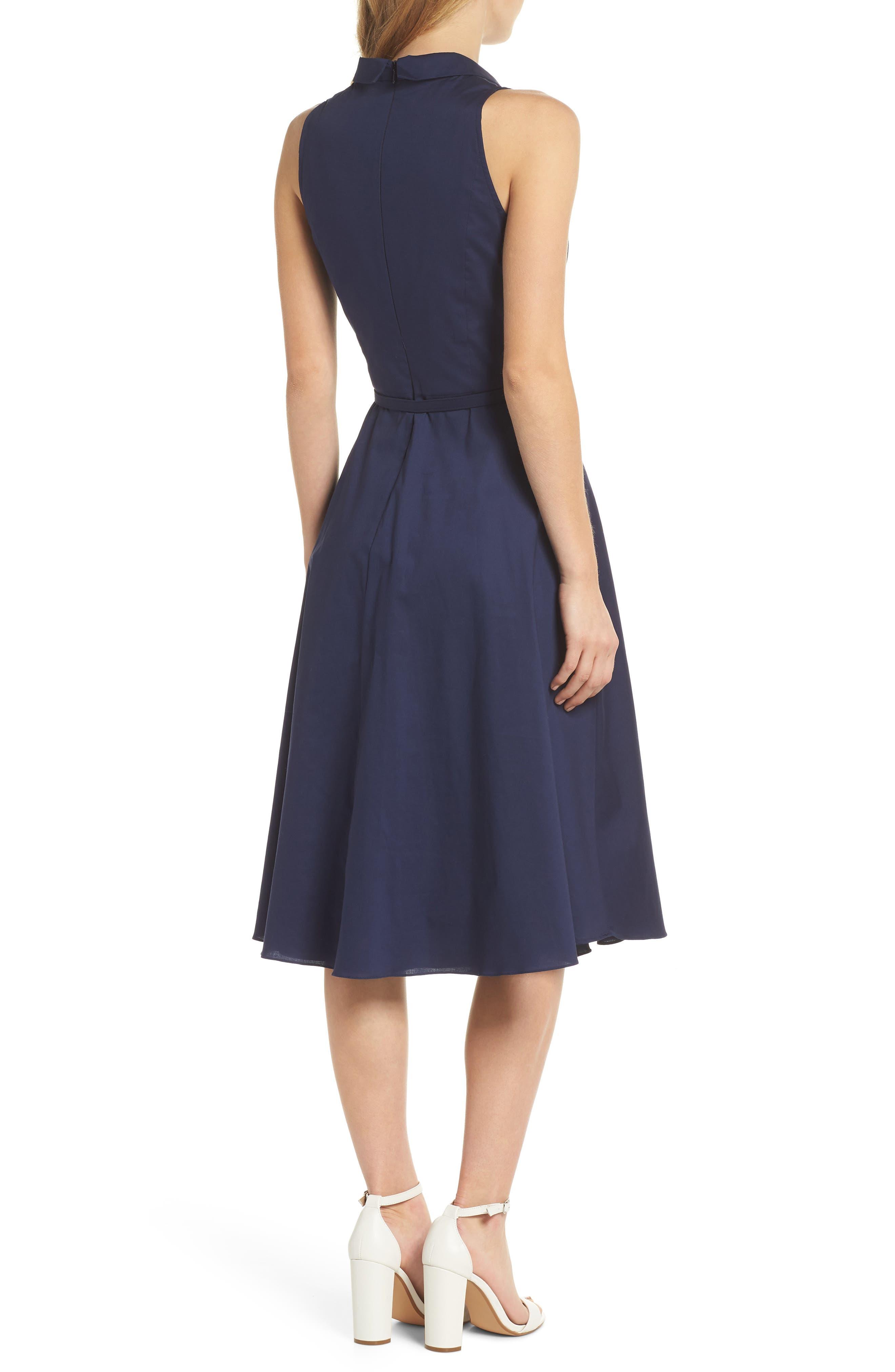 Rose Sleeveless Cotton Poplin Shirtdress,                             Alternate thumbnail 3, color,                             Navy