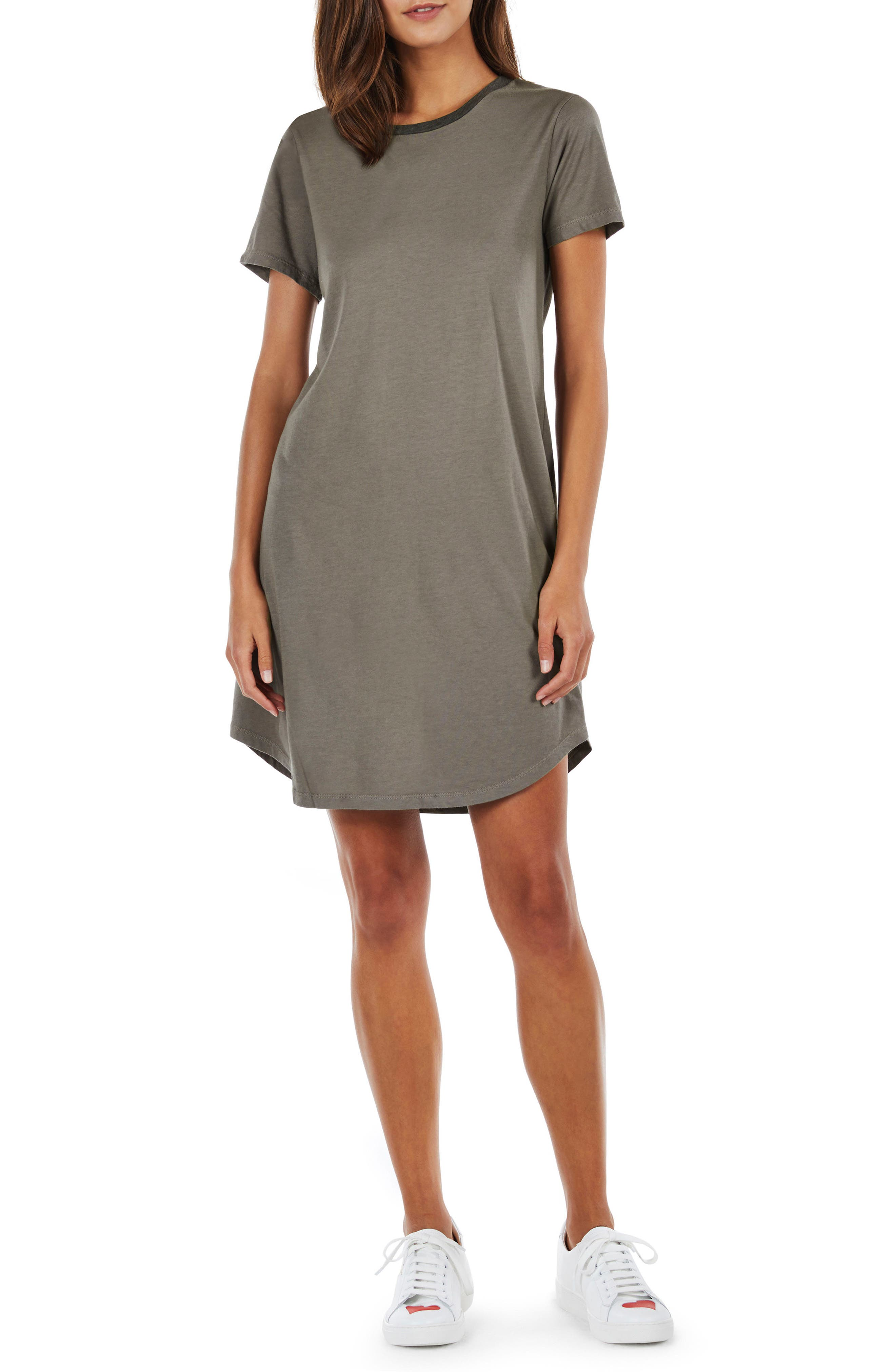 Ringer T-Shirt Dress,                         Main,                         color, Camo