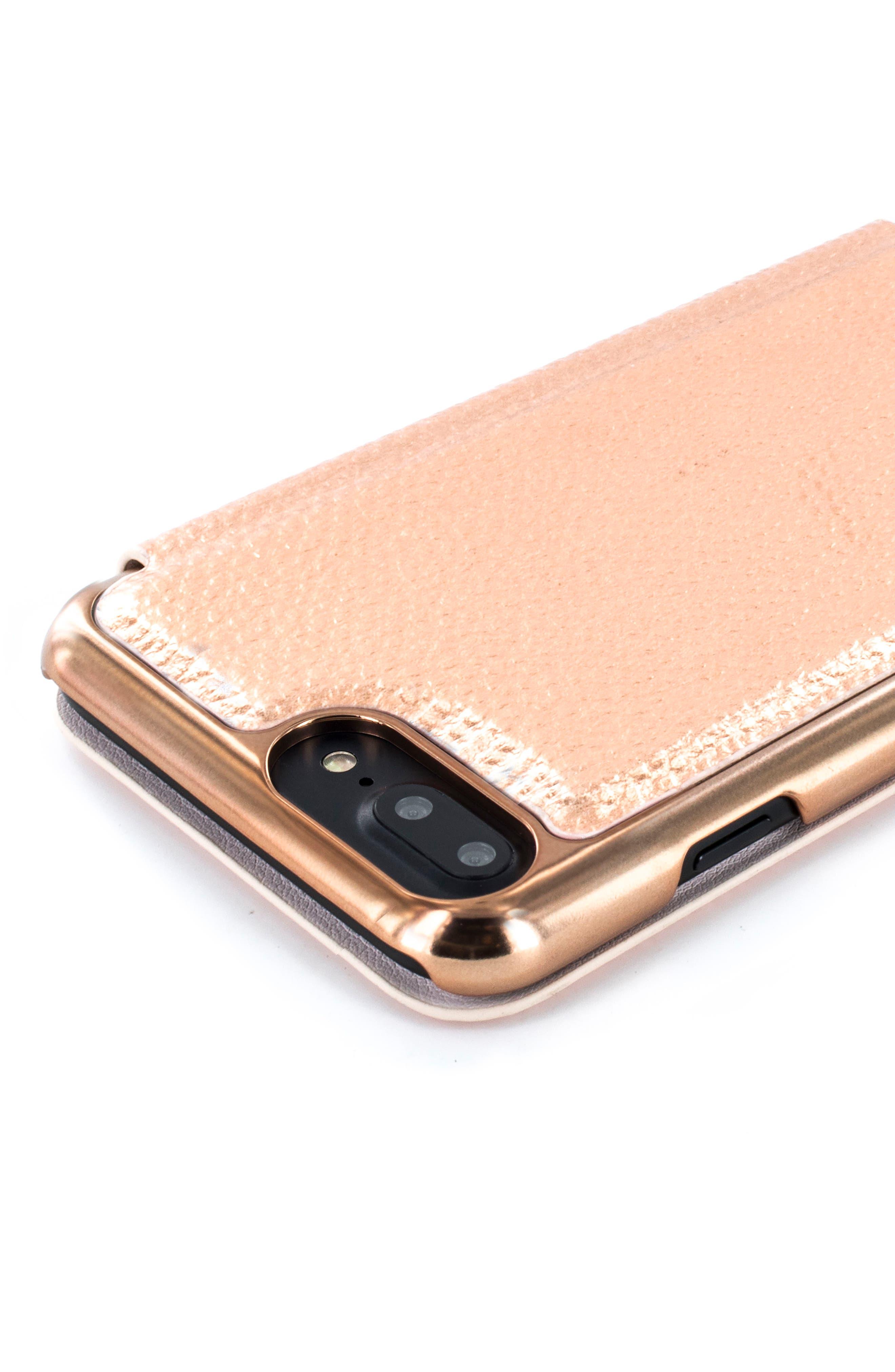 Faux Leather iPhone 6/6s/7/8 & 6/6s/7/8 Plus Mirror Folio Case,                             Alternate thumbnail 3, color,                             Rose Gold
