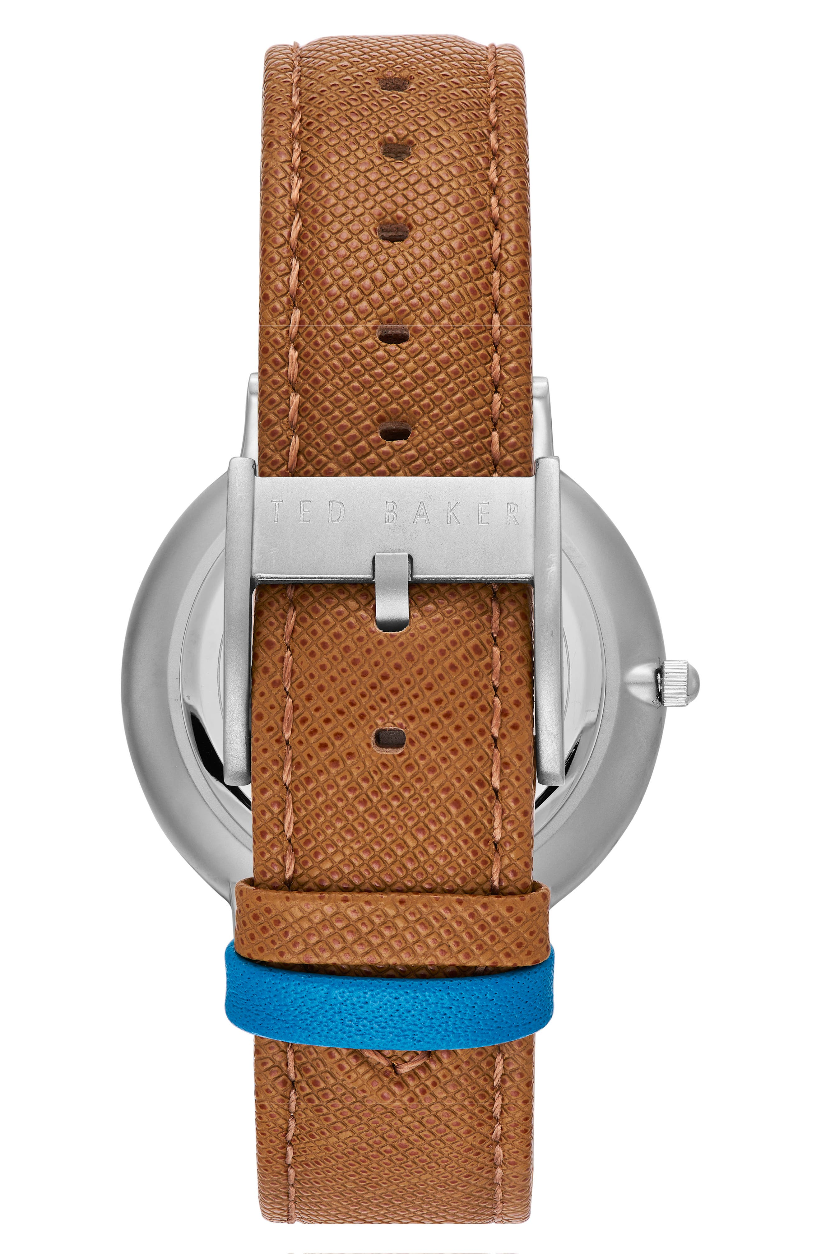 Brad Multifunction Leather Strap Watch, 42mm,                             Alternate thumbnail 2, color,                             White/ Light Brown